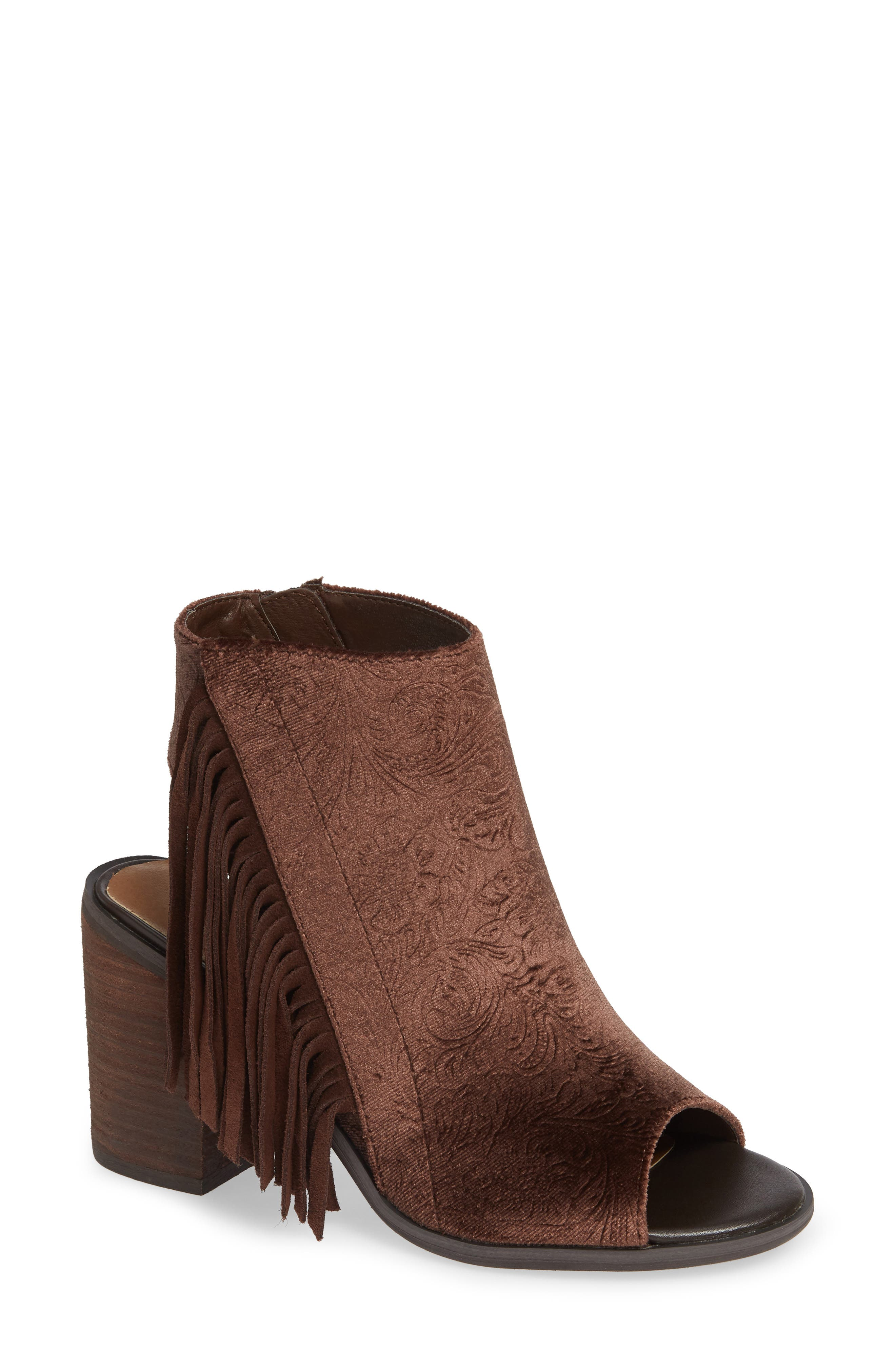 VERY VOLATILE,                             Pony Express Fringe Bootie Sandal,                             Main thumbnail 1, color,                             BROWN