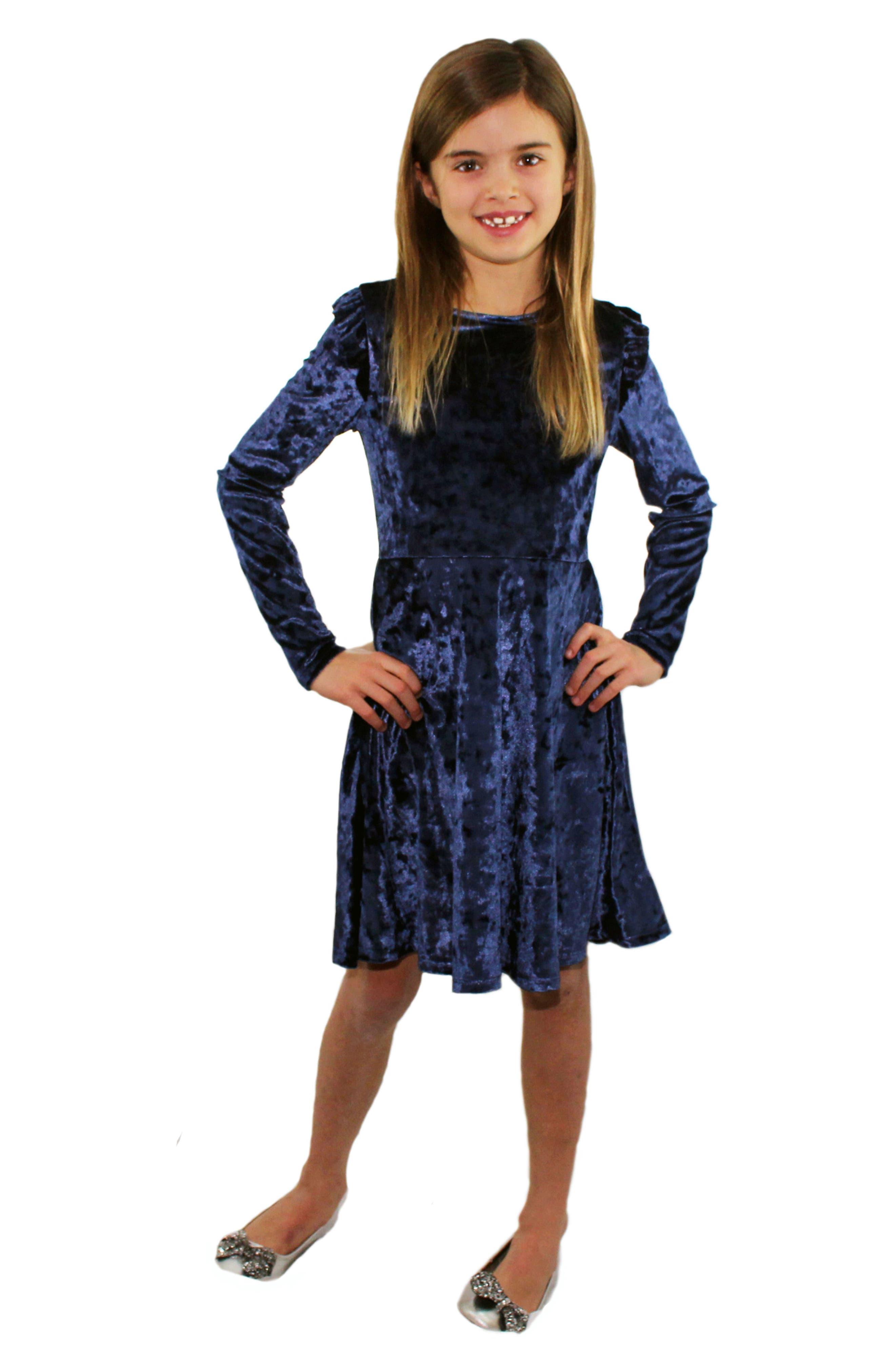 Velvet Dress,                             Alternate thumbnail 4, color,                             430