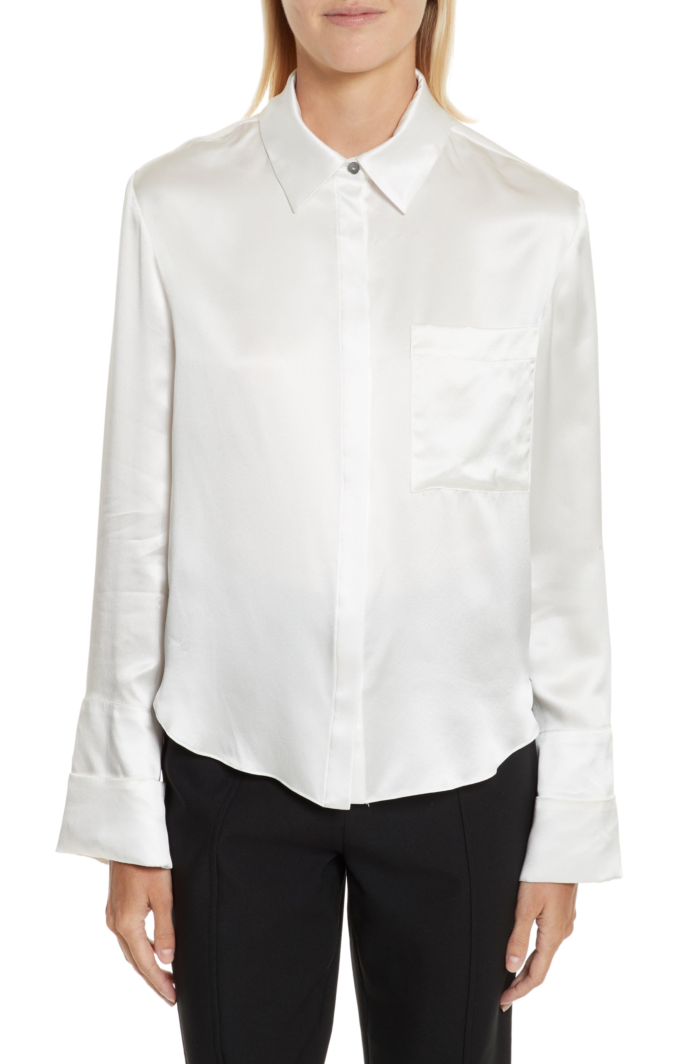 Korlan Lace Trim Silk Top,                         Main,                         color, 107