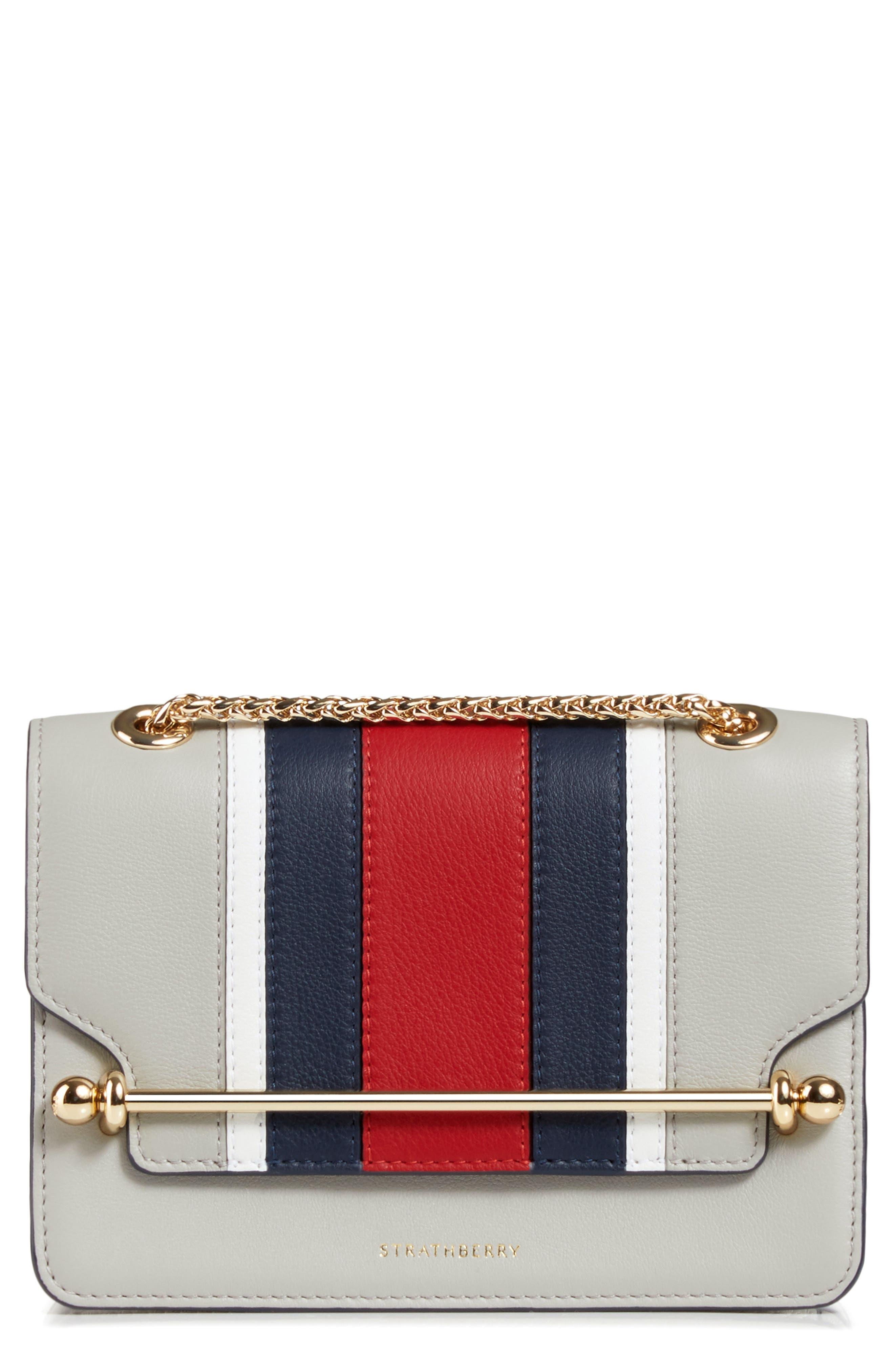 STRATHBERRY Mini East/West Stripe Leather Crossbody Bag - Grey in Pearl Grey