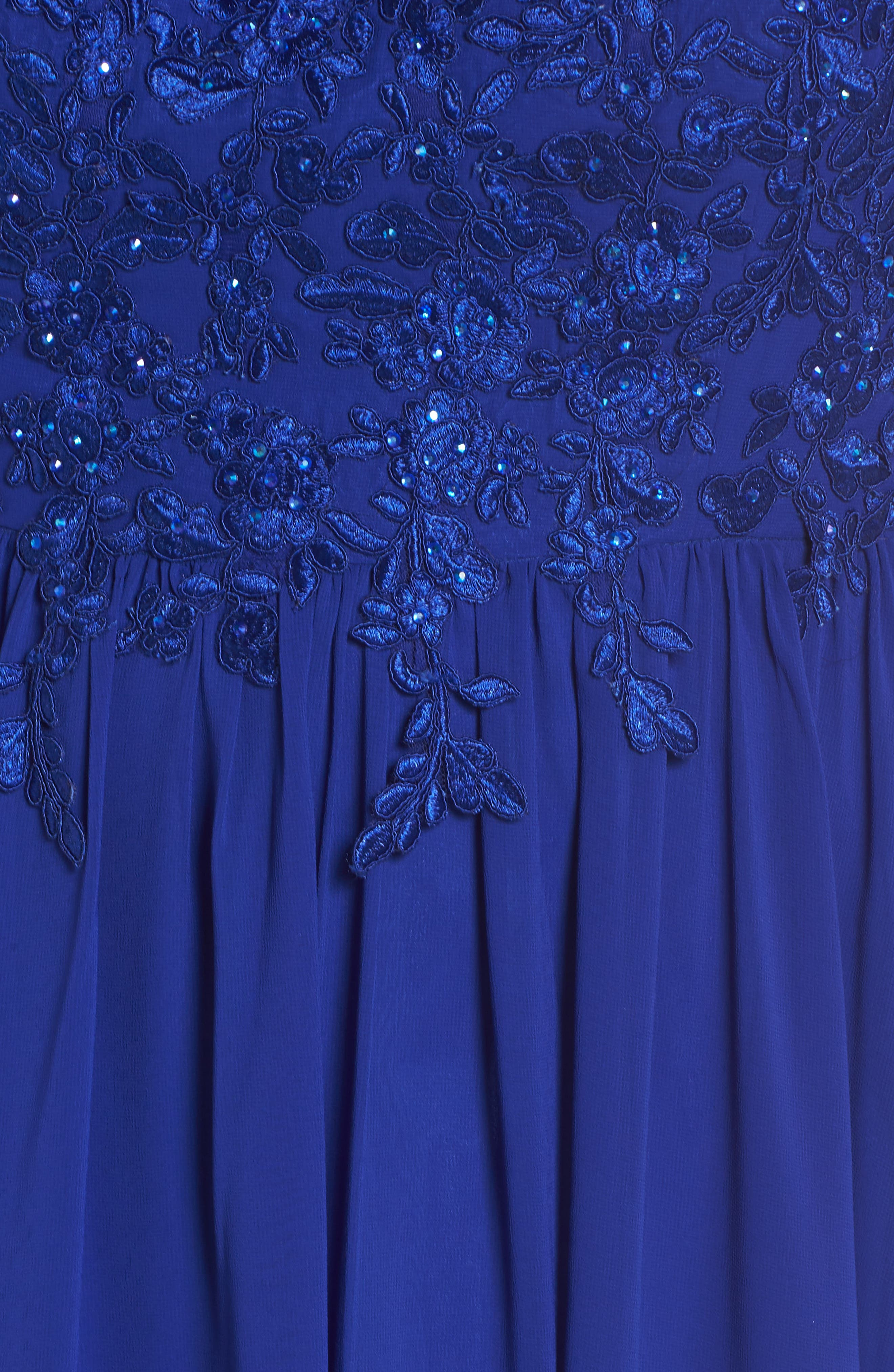 Embroidered Bodice Halter Top Maxi Dress,                             Alternate thumbnail 5, color,                             ROYAL