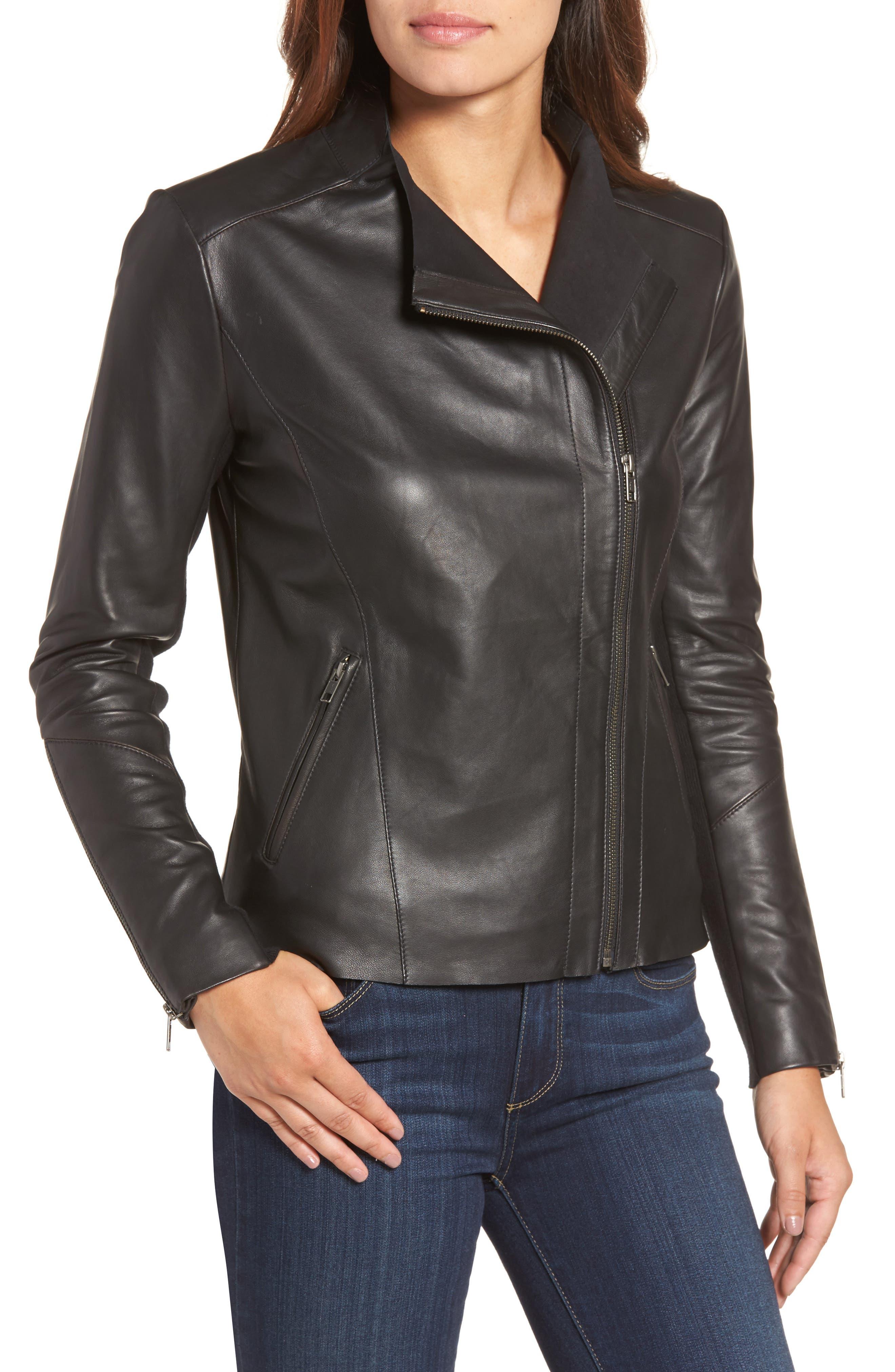 Asymmetrical Leather Jacket,                             Alternate thumbnail 7, color,