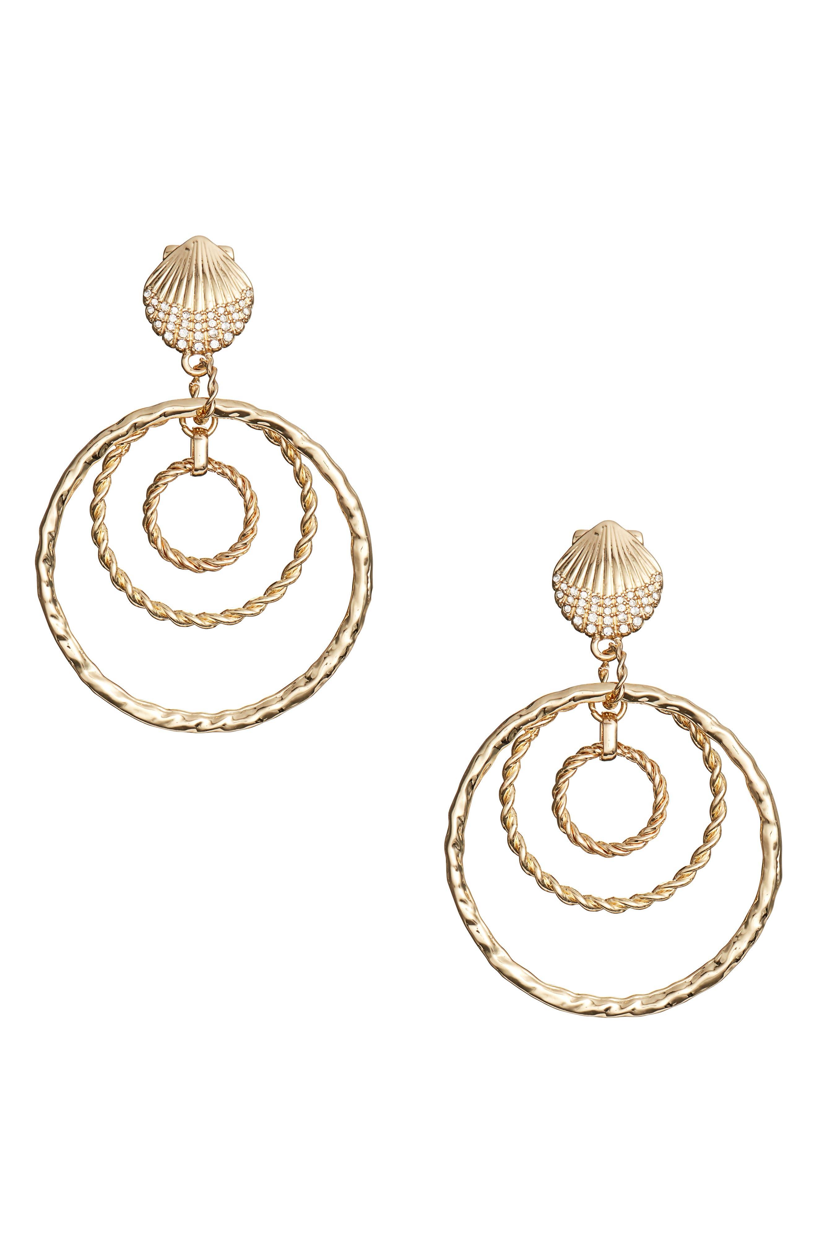 Celestial Seas Hoop Earrings,                             Main thumbnail 1, color,                             GOLD METALLIC