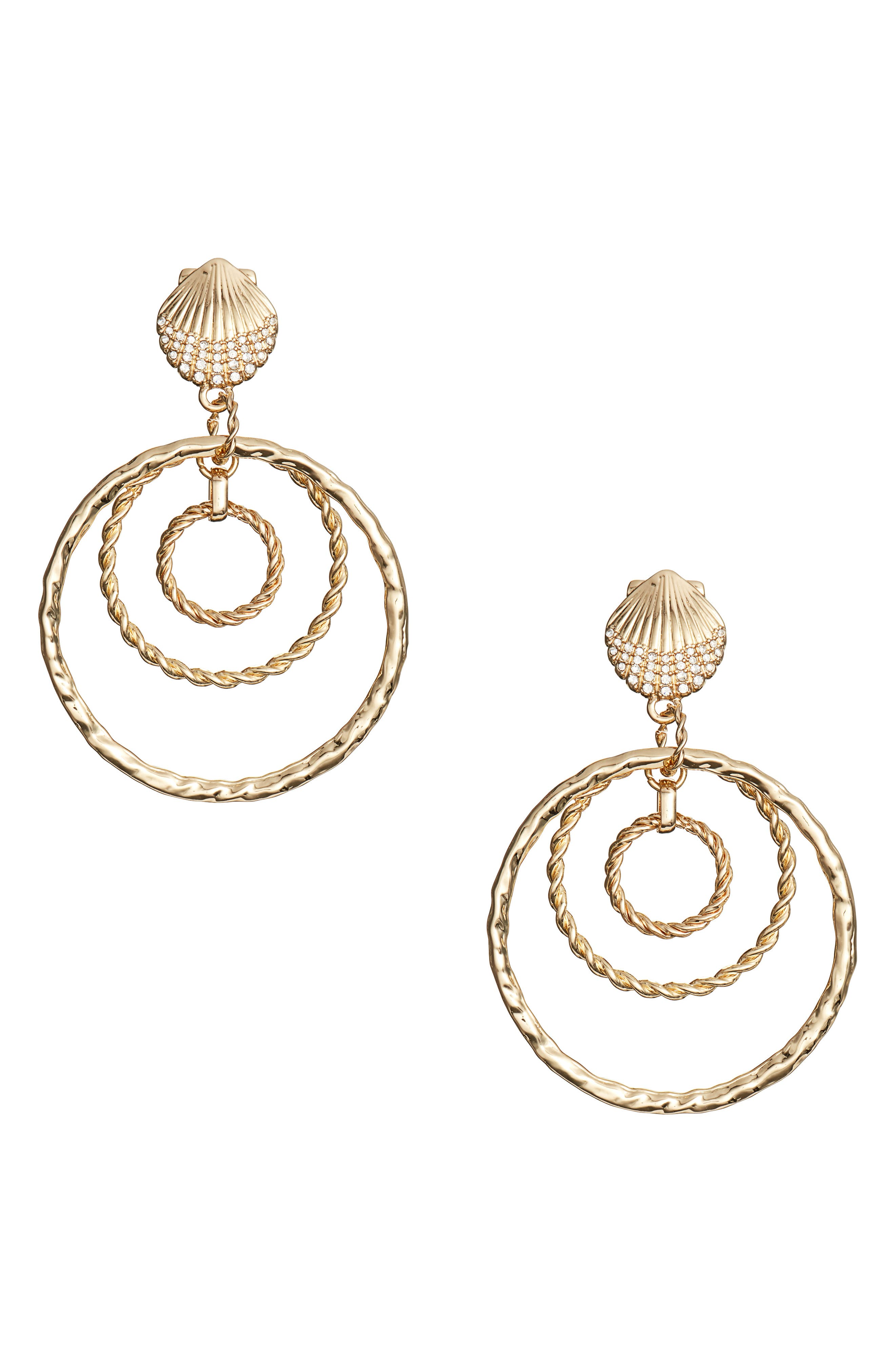 Celestial Seas Hoop Earrings,                         Main,                         color, GOLD METALLIC