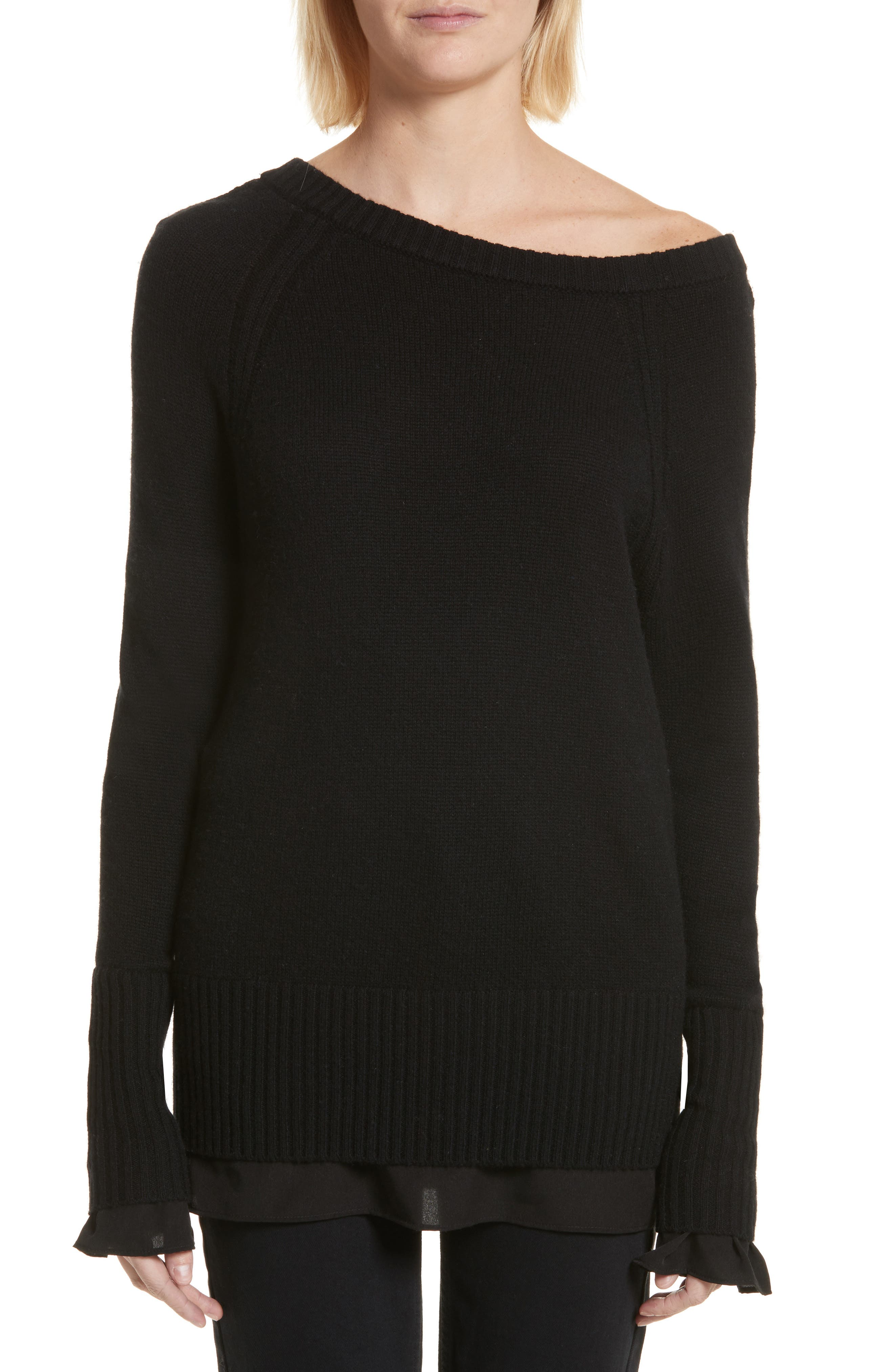 Flores Layered Off Shoulder Sweater,                         Main,                         color, 001