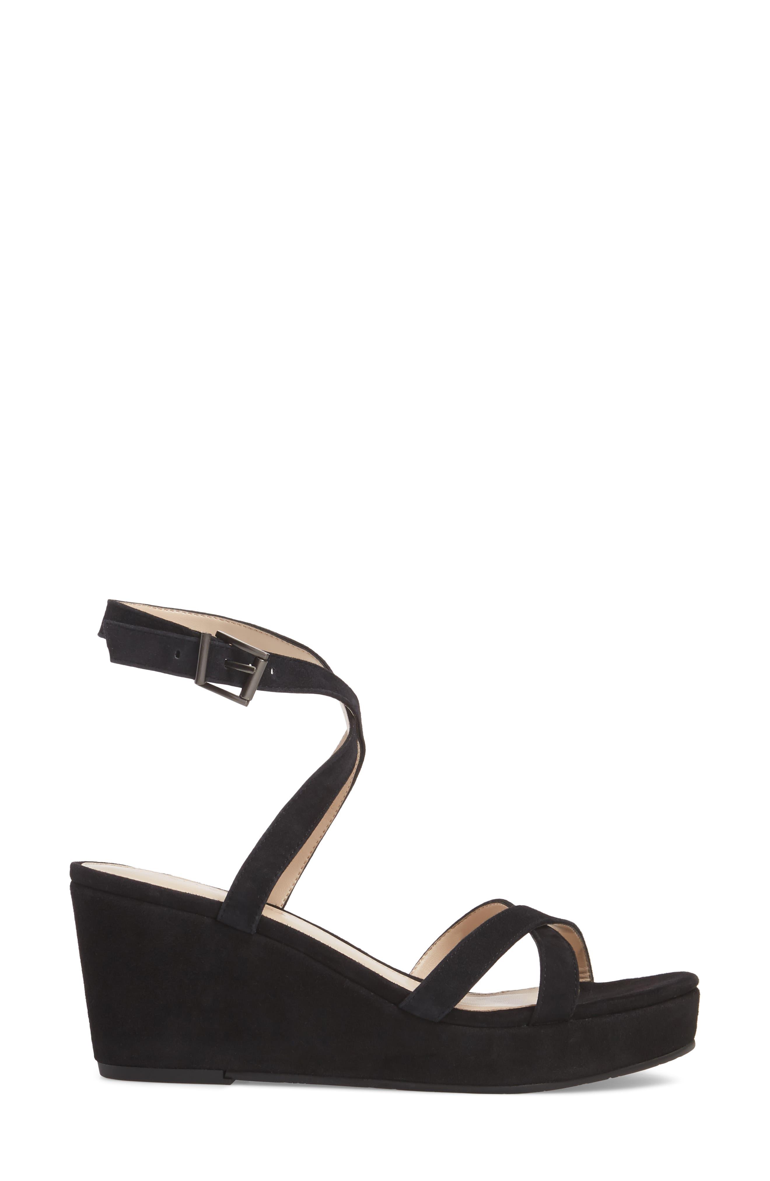 Keo2 Platform Wedge Sandal,                             Alternate thumbnail 3, color,                             BLACK SUEDE
