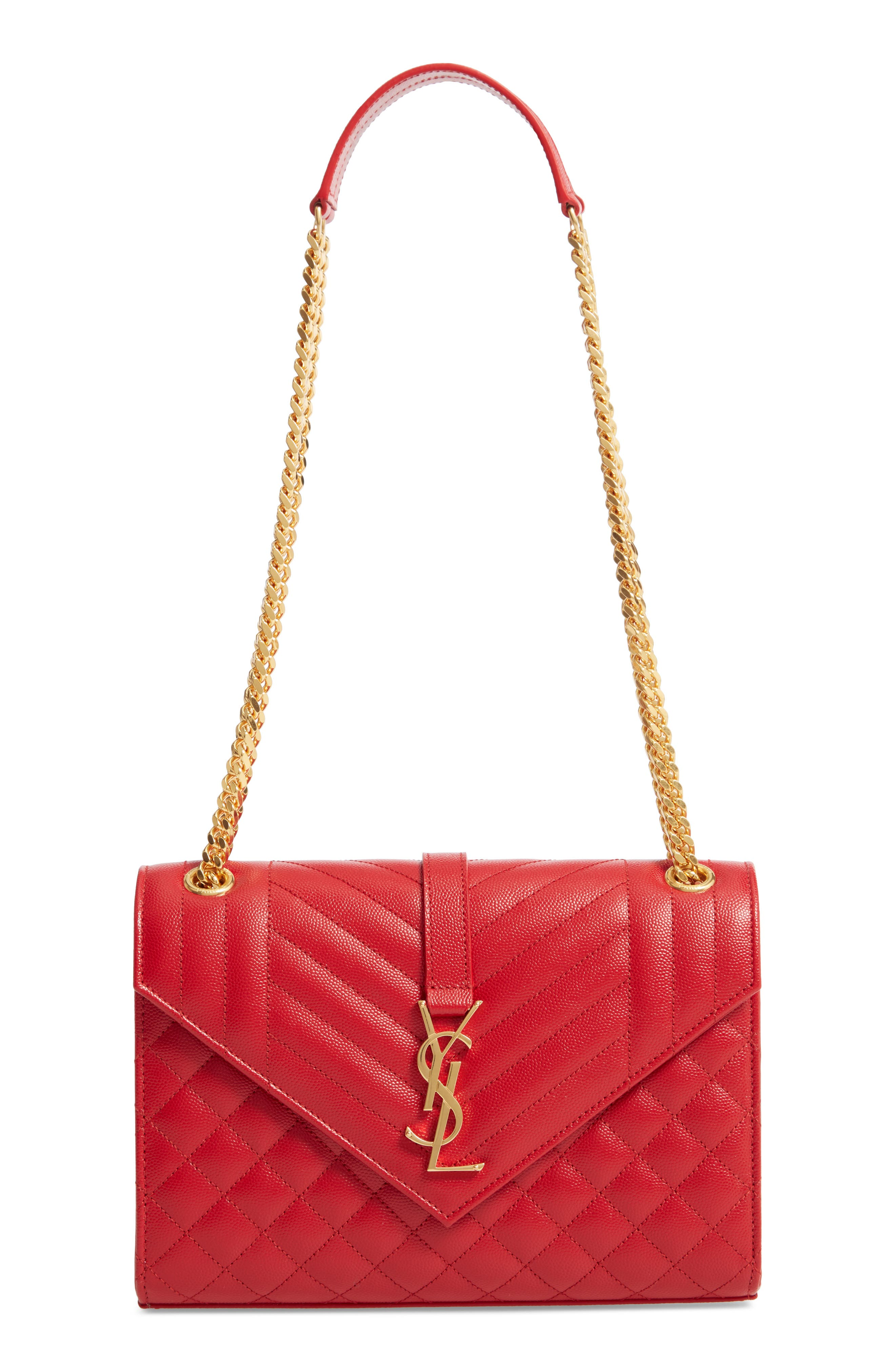 Medium Cassandre Calfskin Shoulder Bag,                             Main thumbnail 1, color,                             BANDANA RED