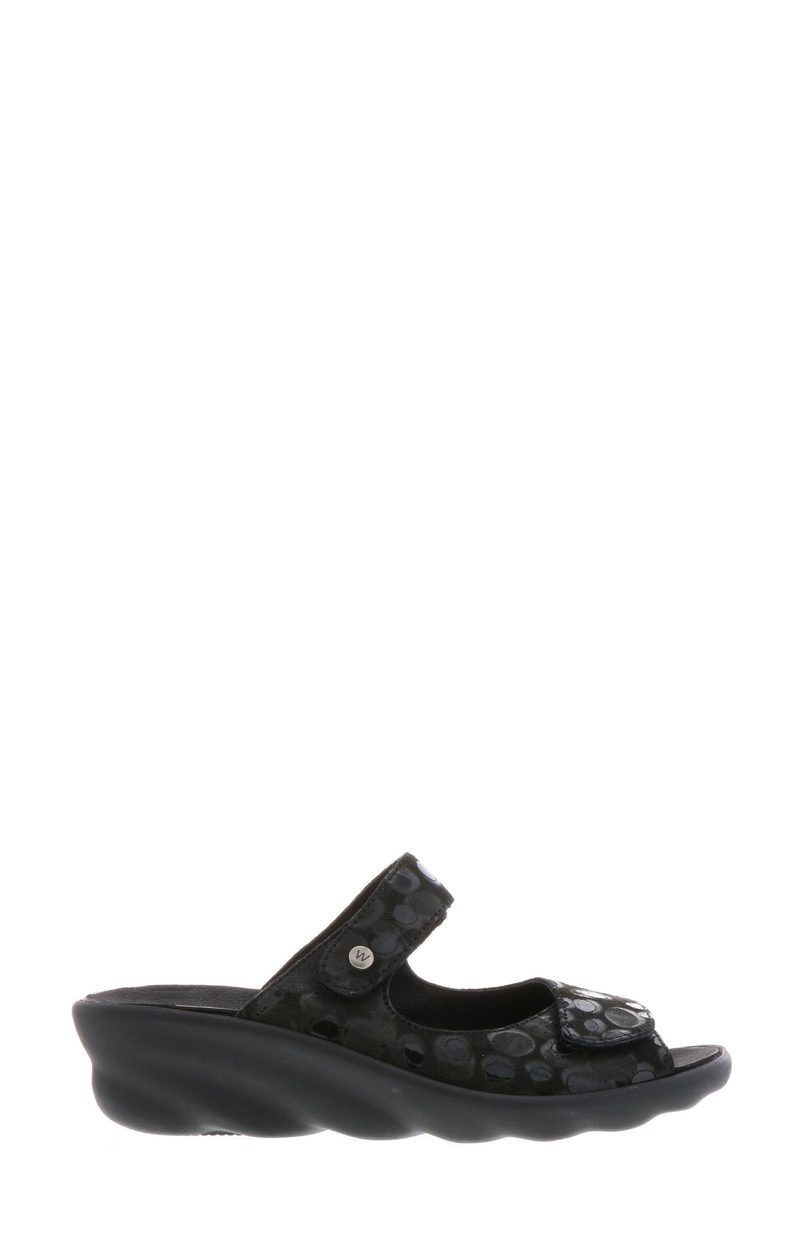 Bolena Slide Sandal,                             Alternate thumbnail 3, color,                             BLACK CIRCLE PRINT