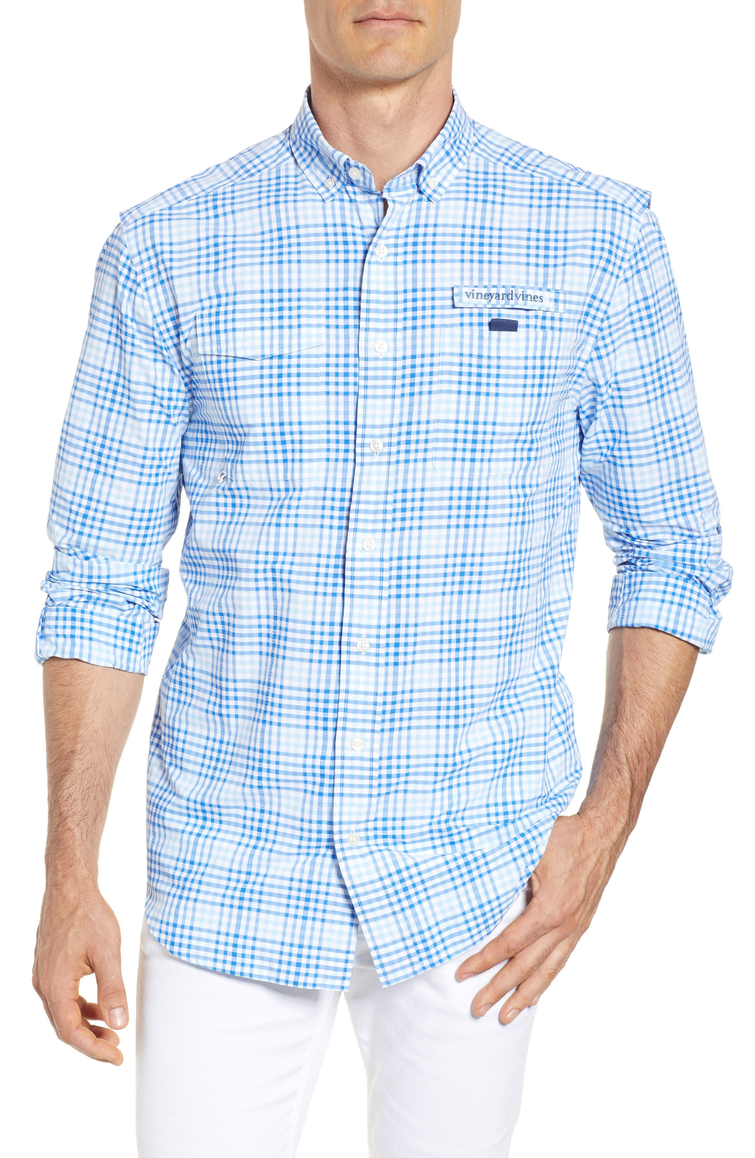 South Shore Harbor Regular Fit Plaid Performance Sport Shirt,                         Main,                         color, JAKE BLUE