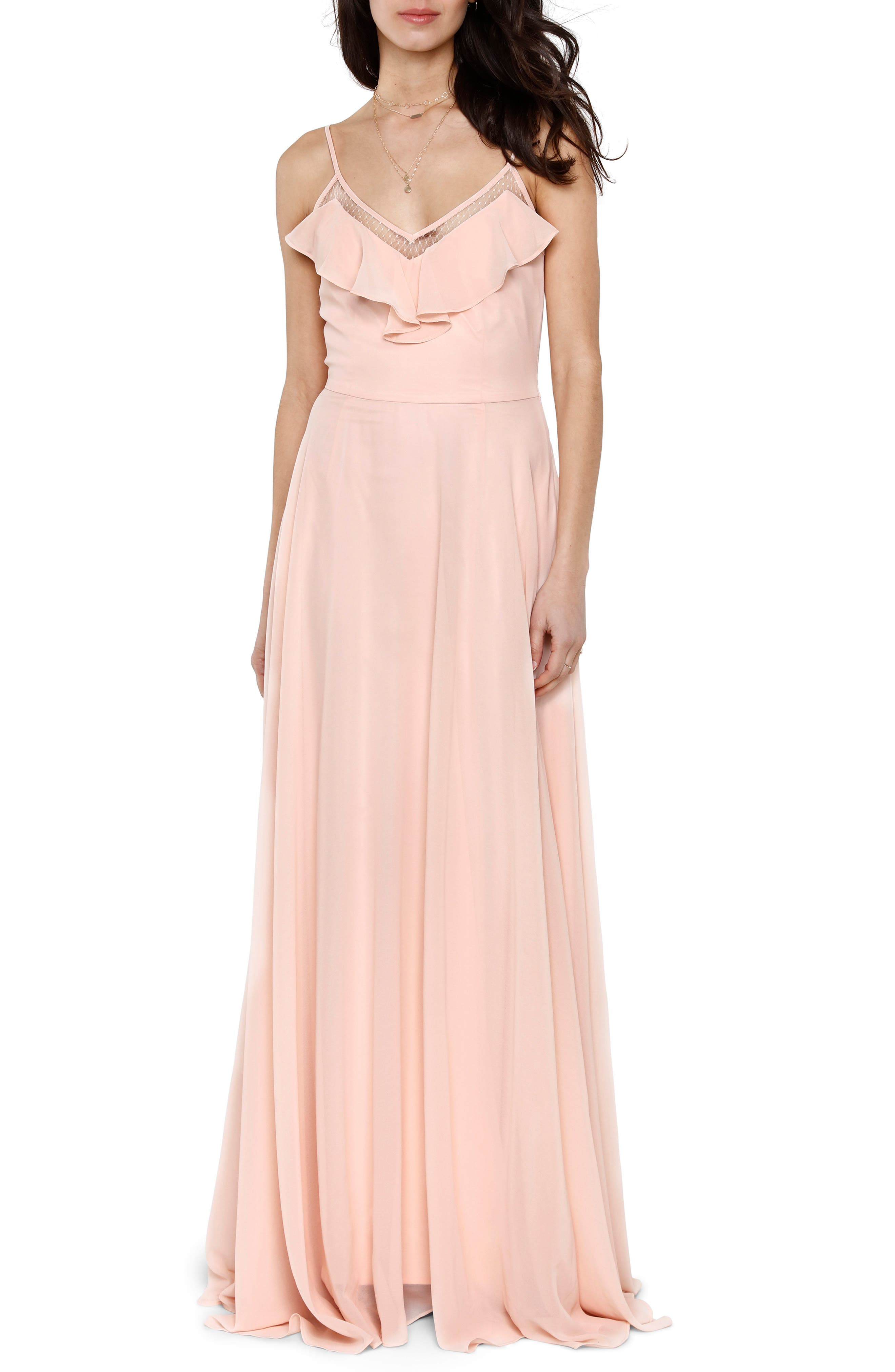 Francie Ruffle V-Neck Gown,                             Main thumbnail 1, color,                             PETAL