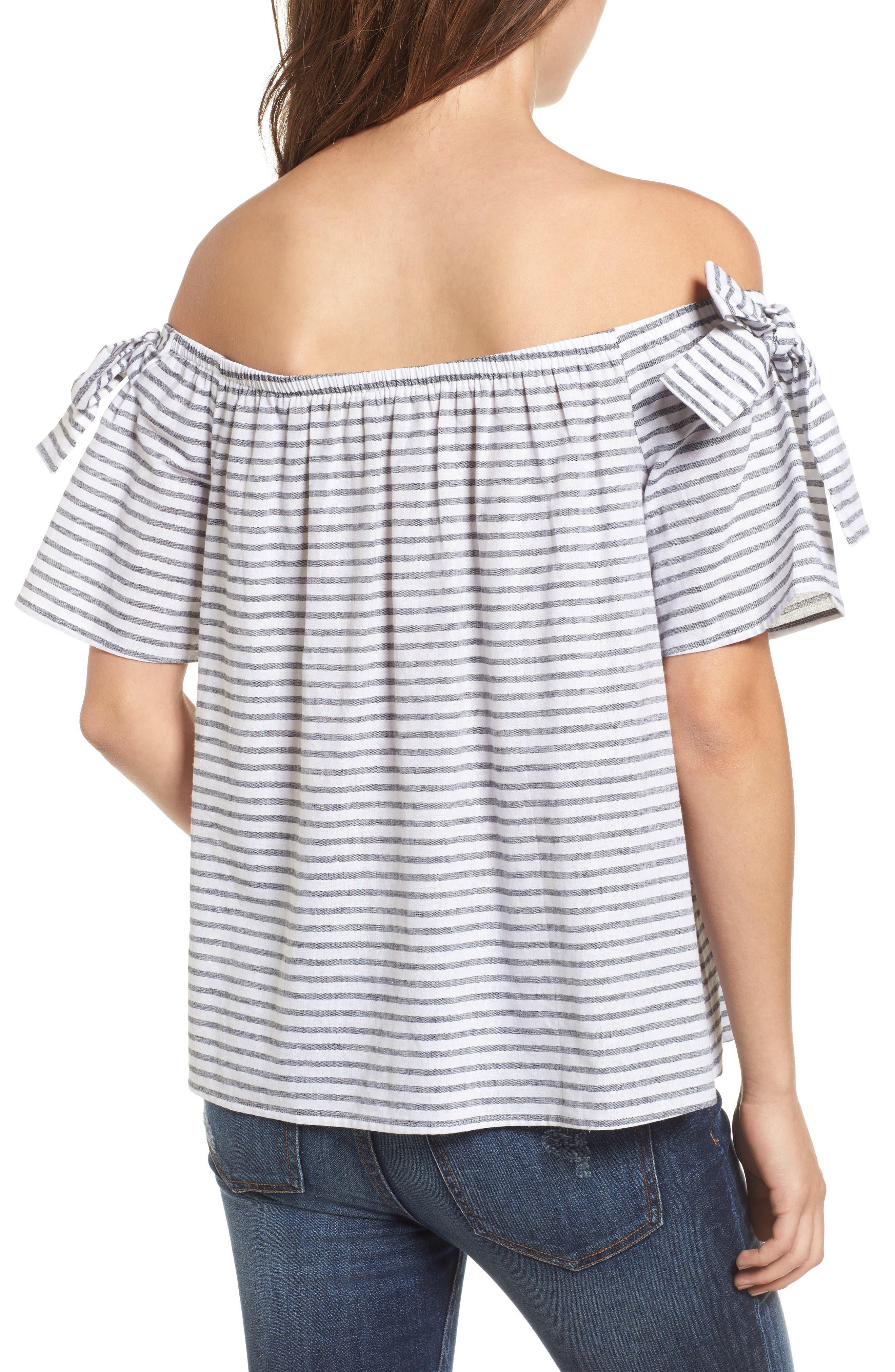 Stripe Cotton & Linen Off the Shoulder Top,                             Alternate thumbnail 2, color,                             001