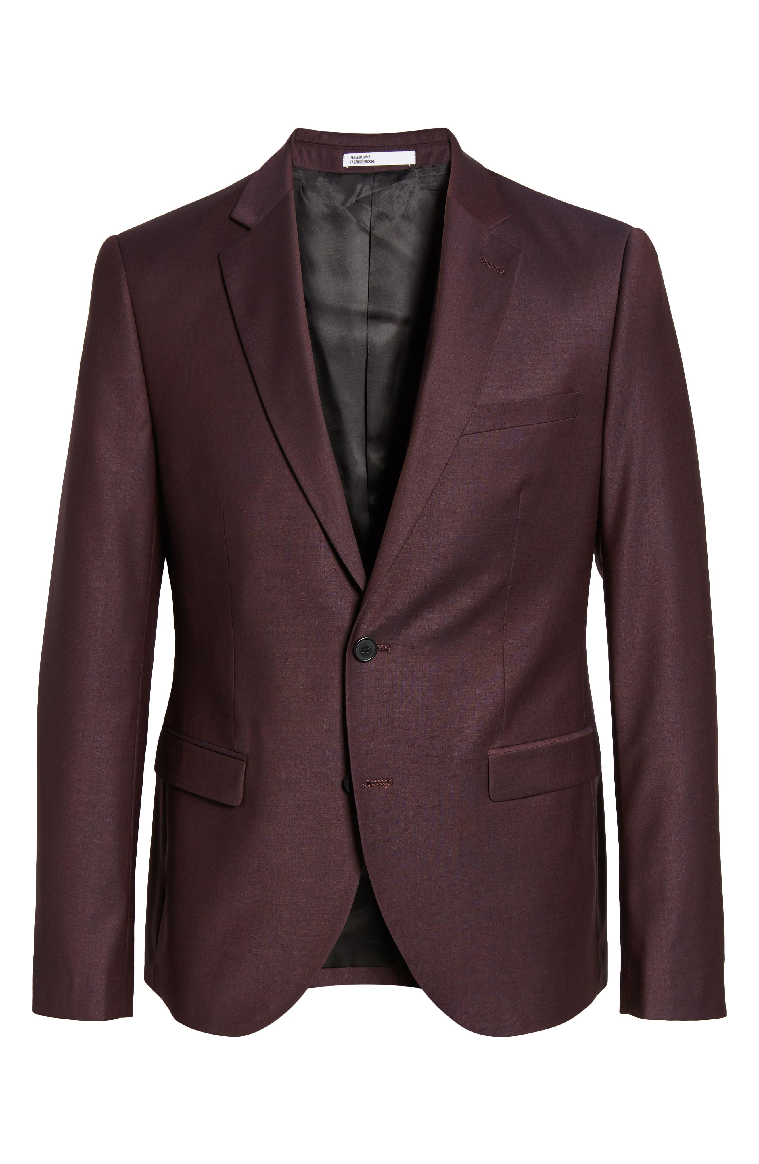 Extra Trim Fit Suit Jacket,                             Alternate thumbnail 5, color,                             BURGUNDY