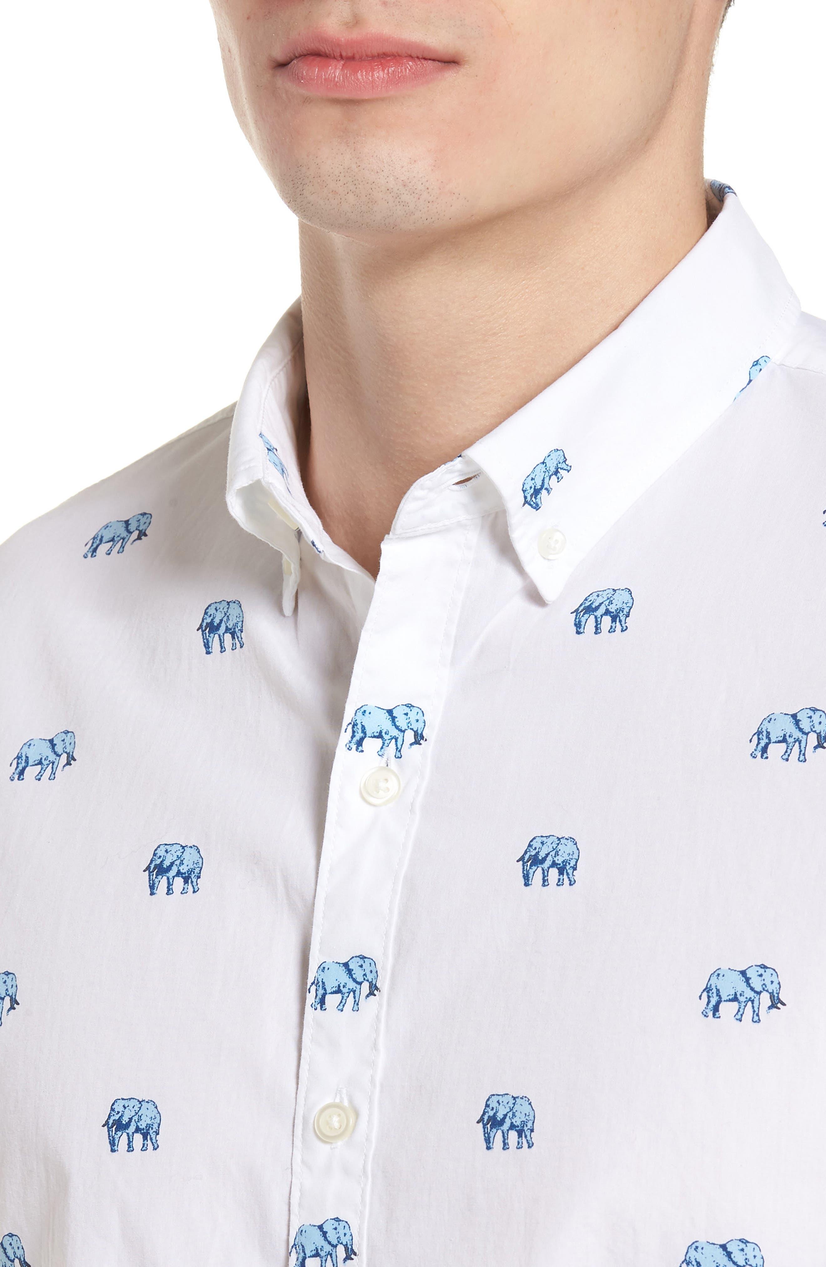 Slim Fit Washed Elephant Sport Shirt,                             Alternate thumbnail 4, color,                             100