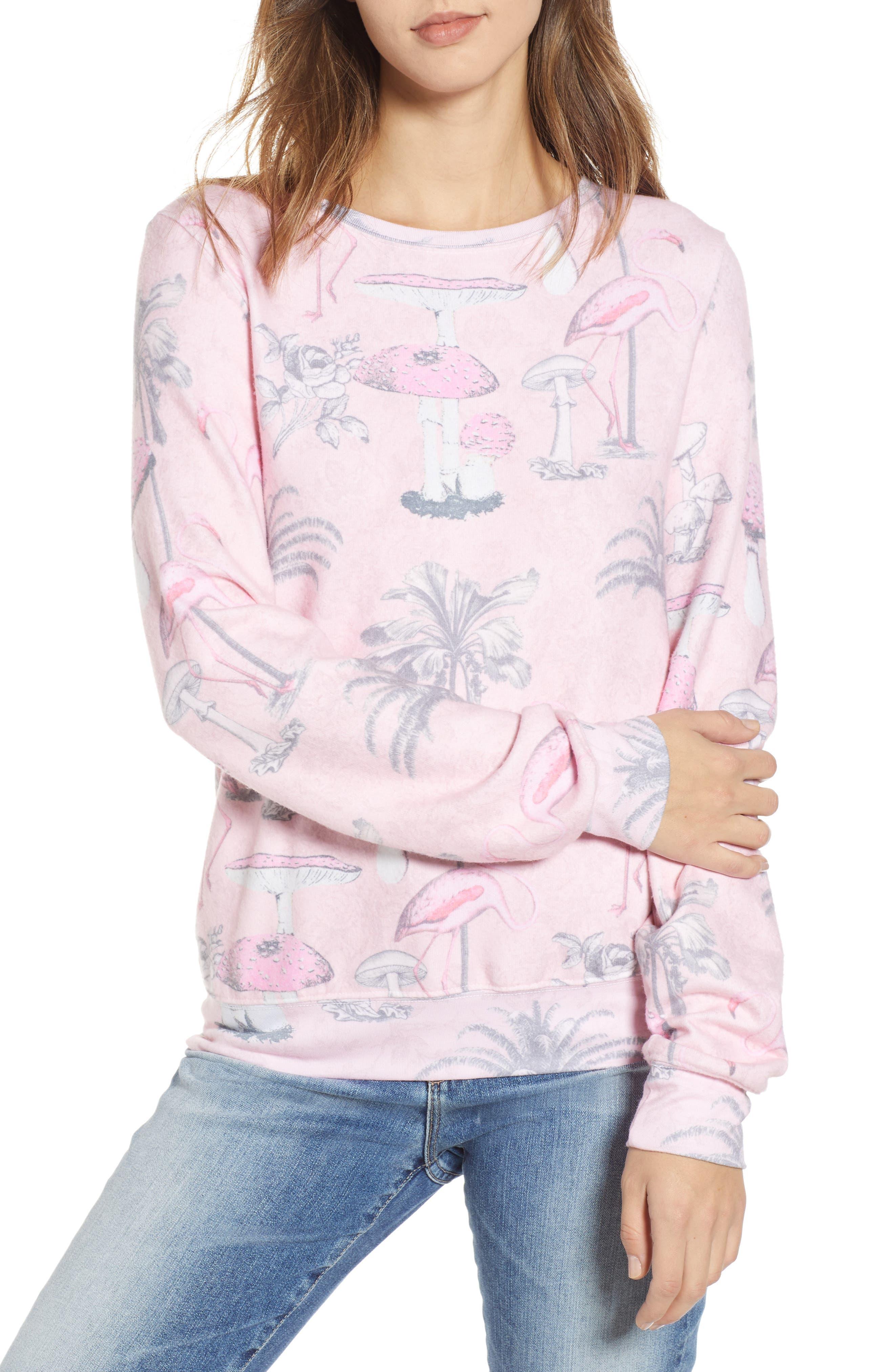 WILDFOX Pink Paradise Print Sweatshirt in Multi
