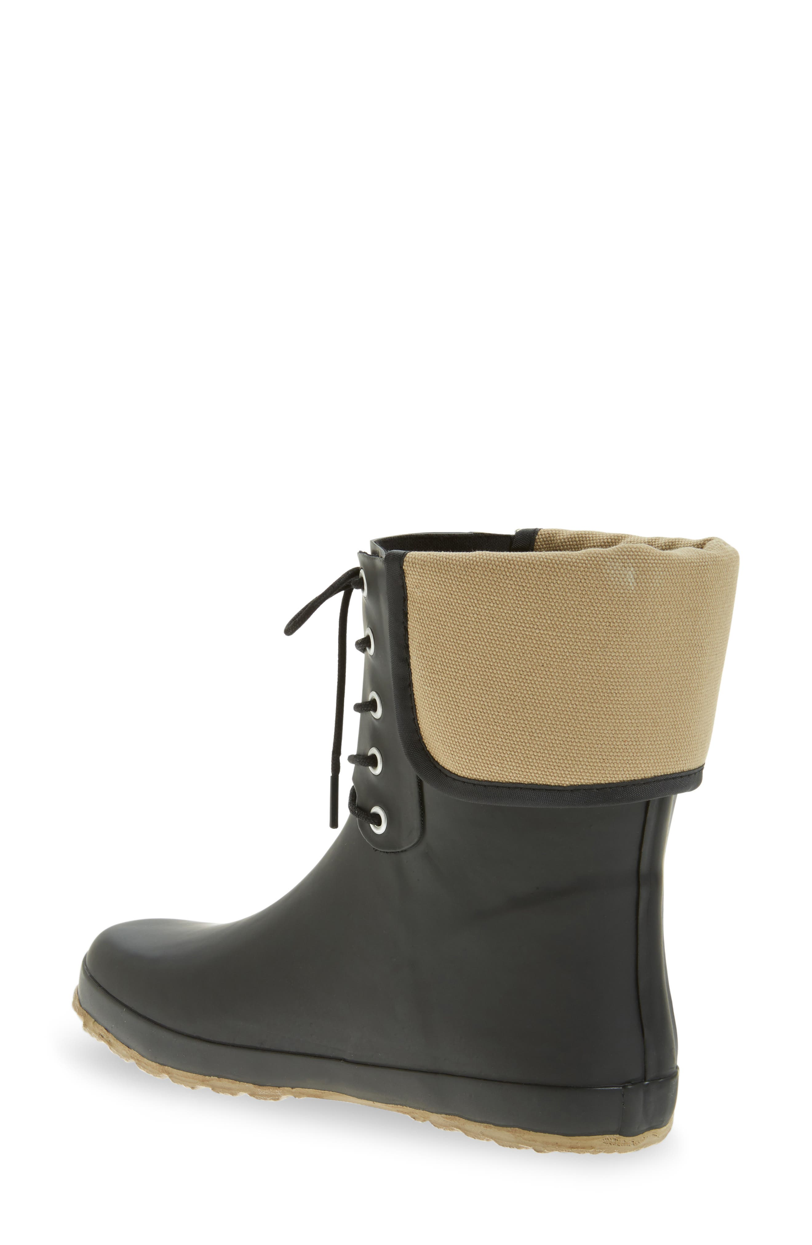 Lace-Up Mid Weatherproof Boot,                             Alternate thumbnail 2, color,                             BLACK