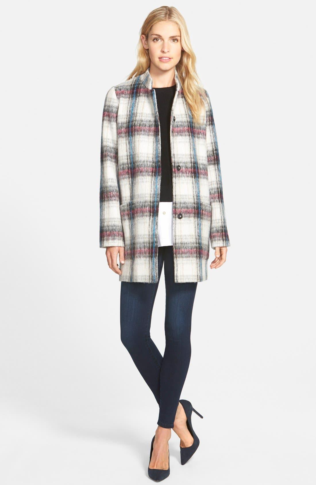 Drop Shoulder Plaid Wool Blend Coat,                             Alternate thumbnail 10, color,                             250