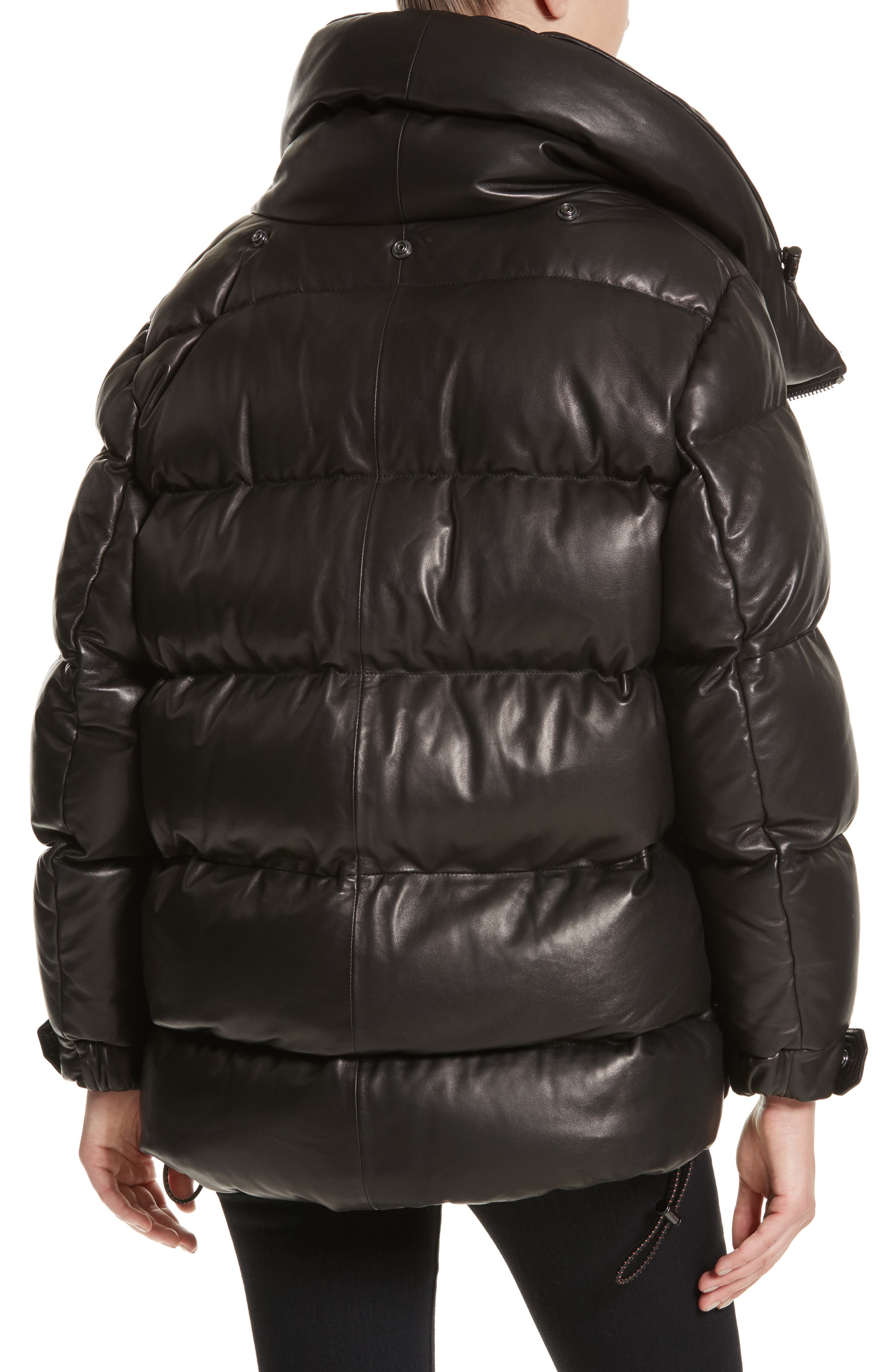 Rocklands Quilted Down Leather Coat,                             Alternate thumbnail 4, color,                             001