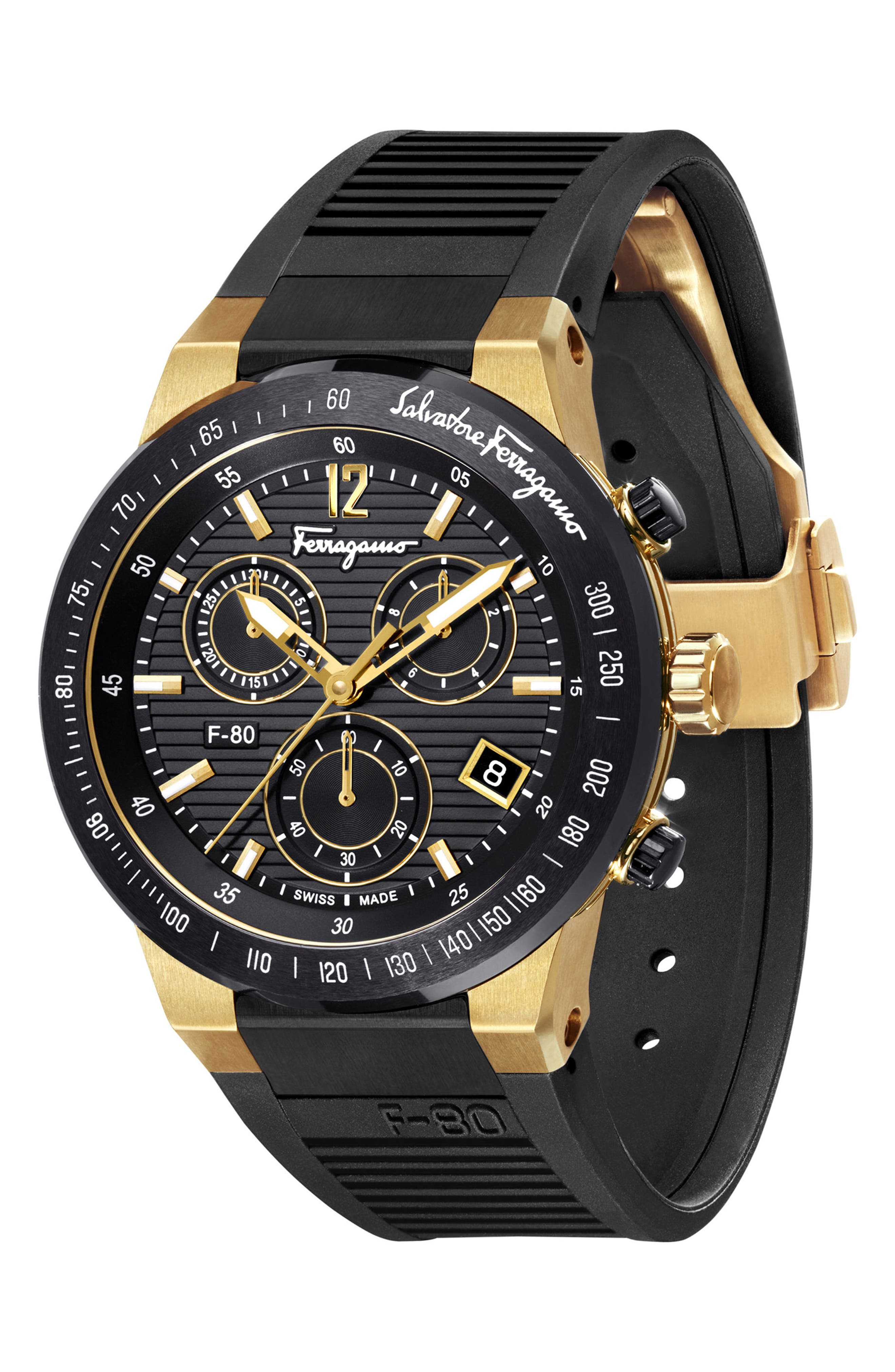 F-80 Chronograph Rubber Strap Watch, 44mm,                             Alternate thumbnail 4, color,                             BLACK/ GOLD