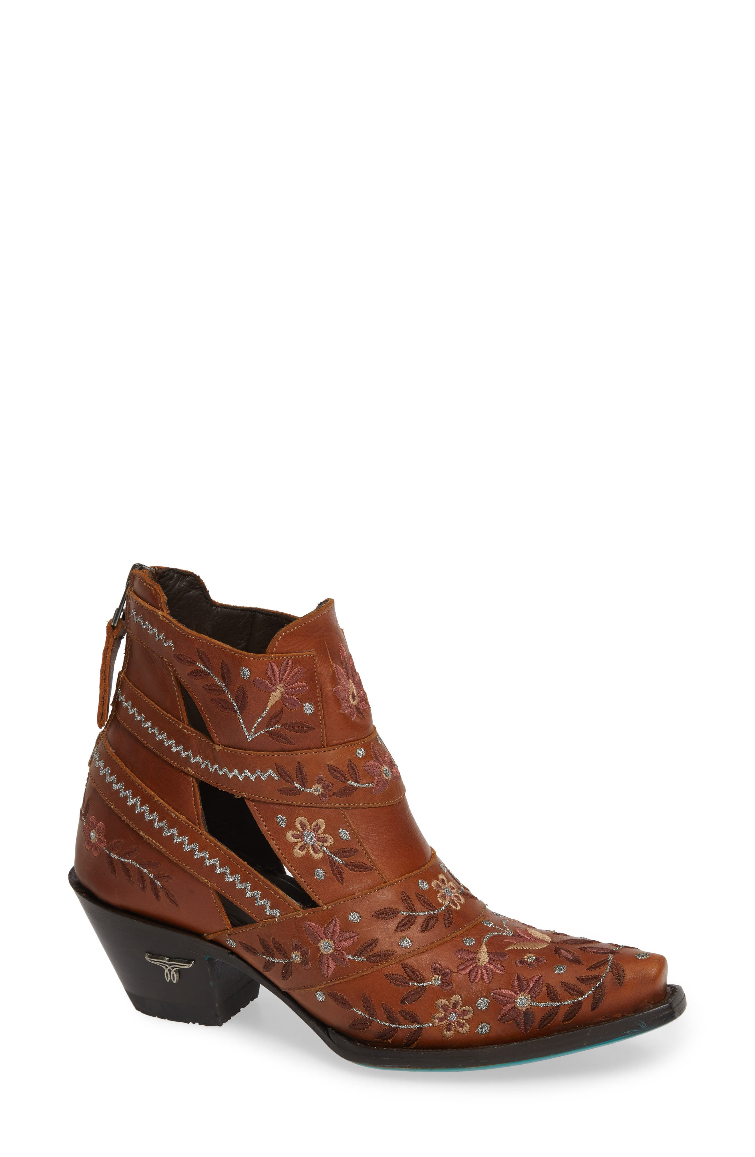 Lane Boots Camilla Embroidered Bootie- Brown