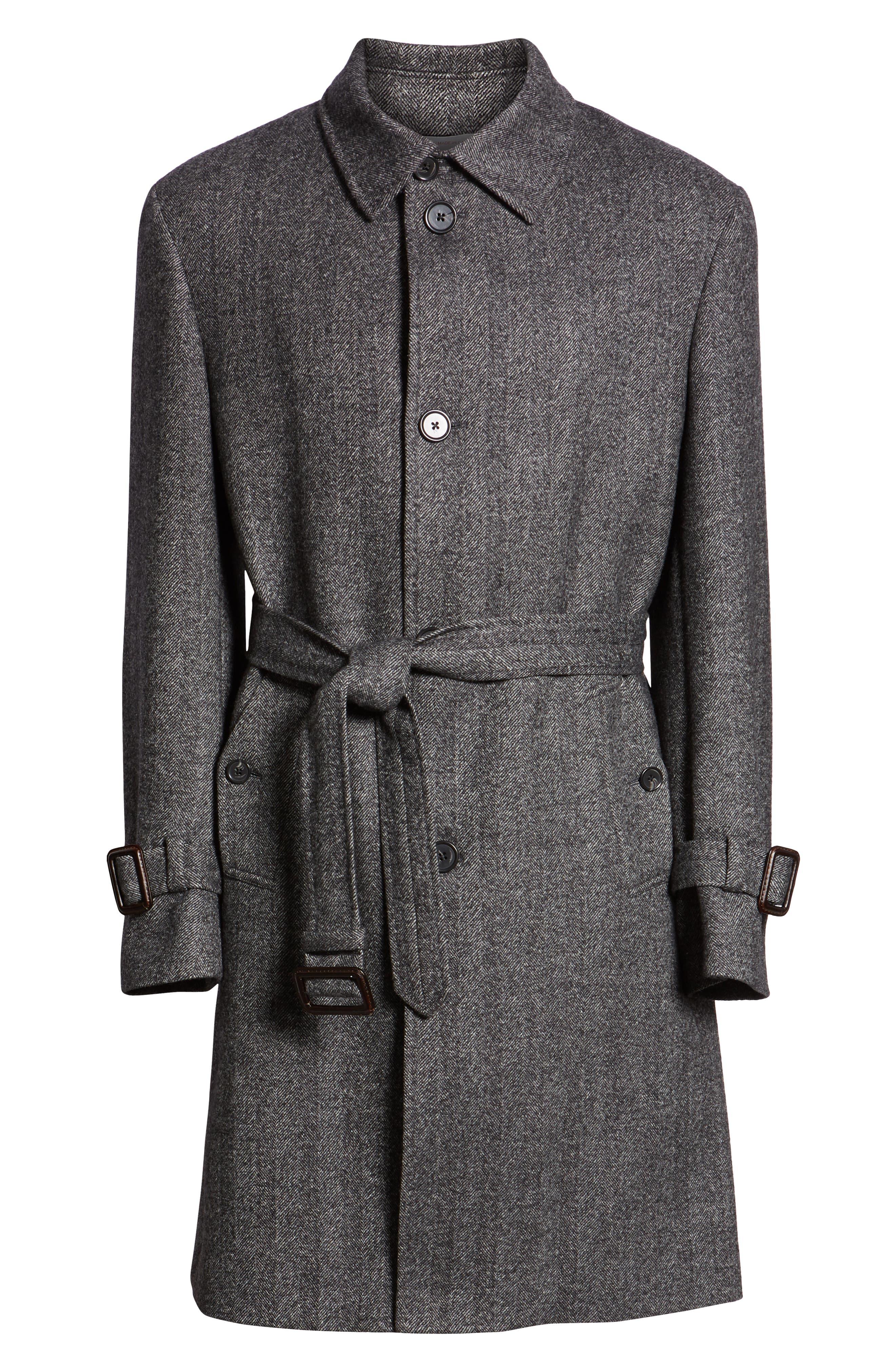 Zelander Herringbone Wool Blend Coat,                             Alternate thumbnail 6, color,                             GREY