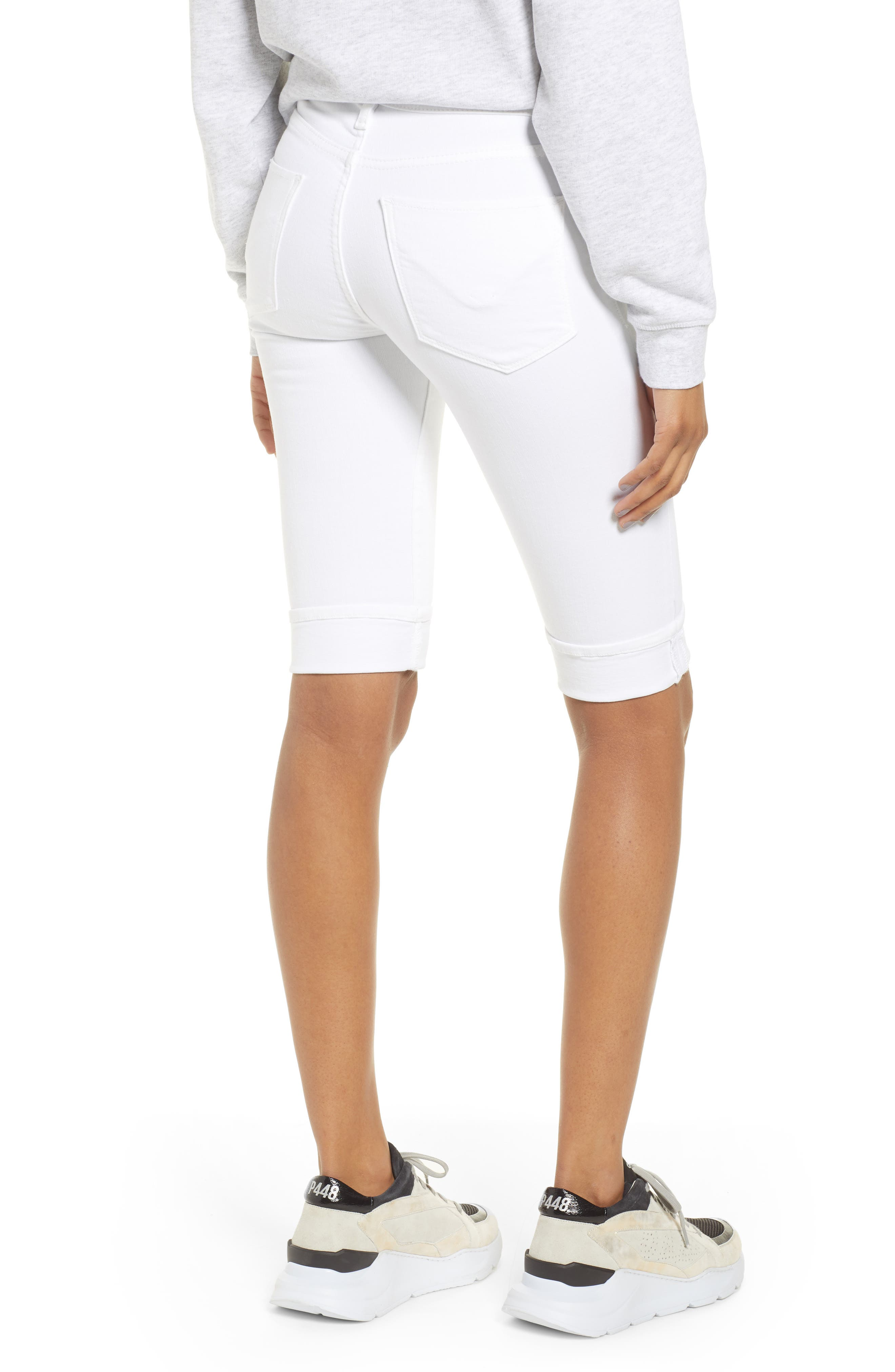 Amelia Cuff Bermuda Shorts,                             Alternate thumbnail 2, color,                             WHITE