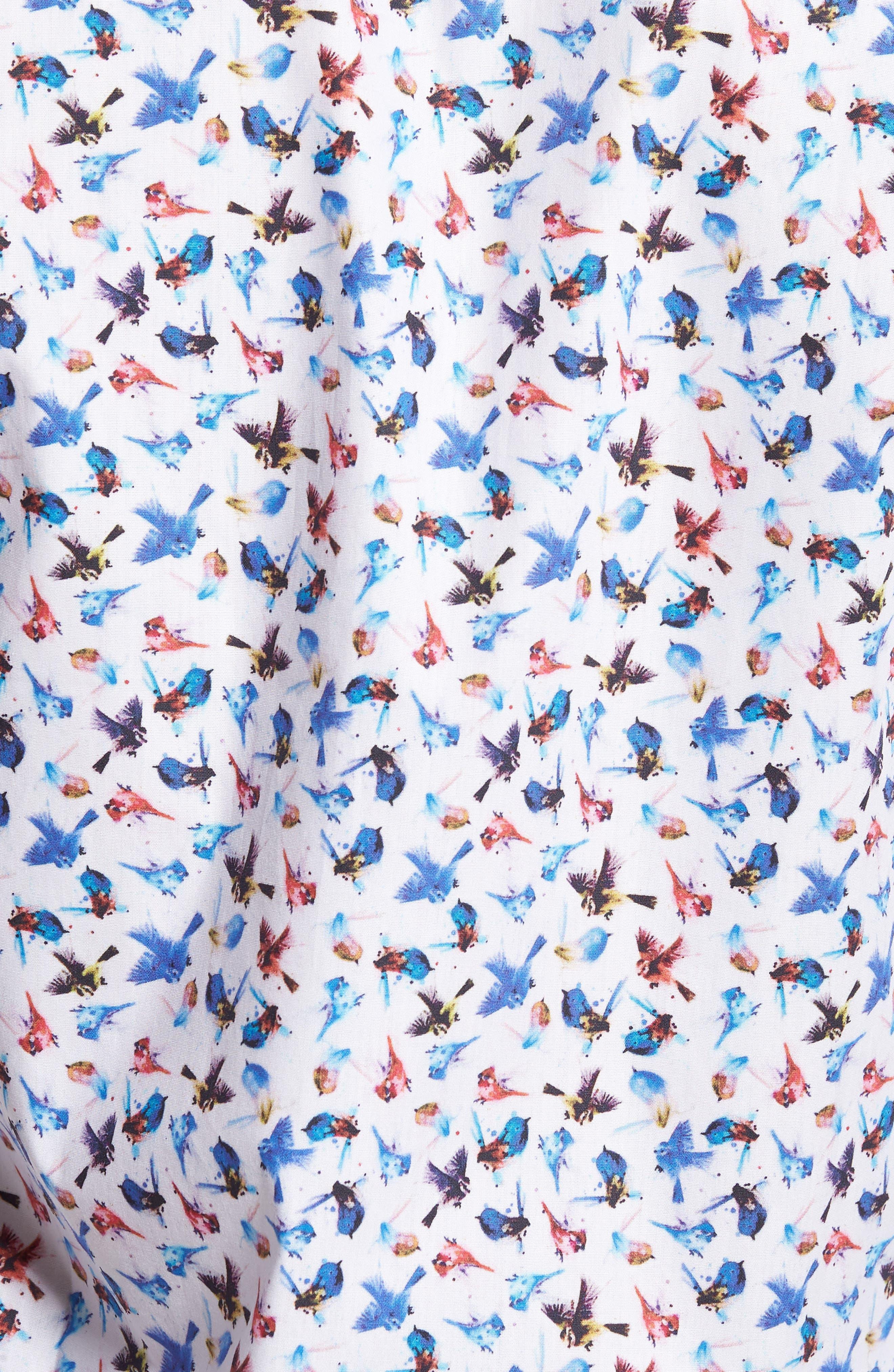 Slim Fit Bird Print Sport Shirt,                             Alternate thumbnail 5, color,                             963