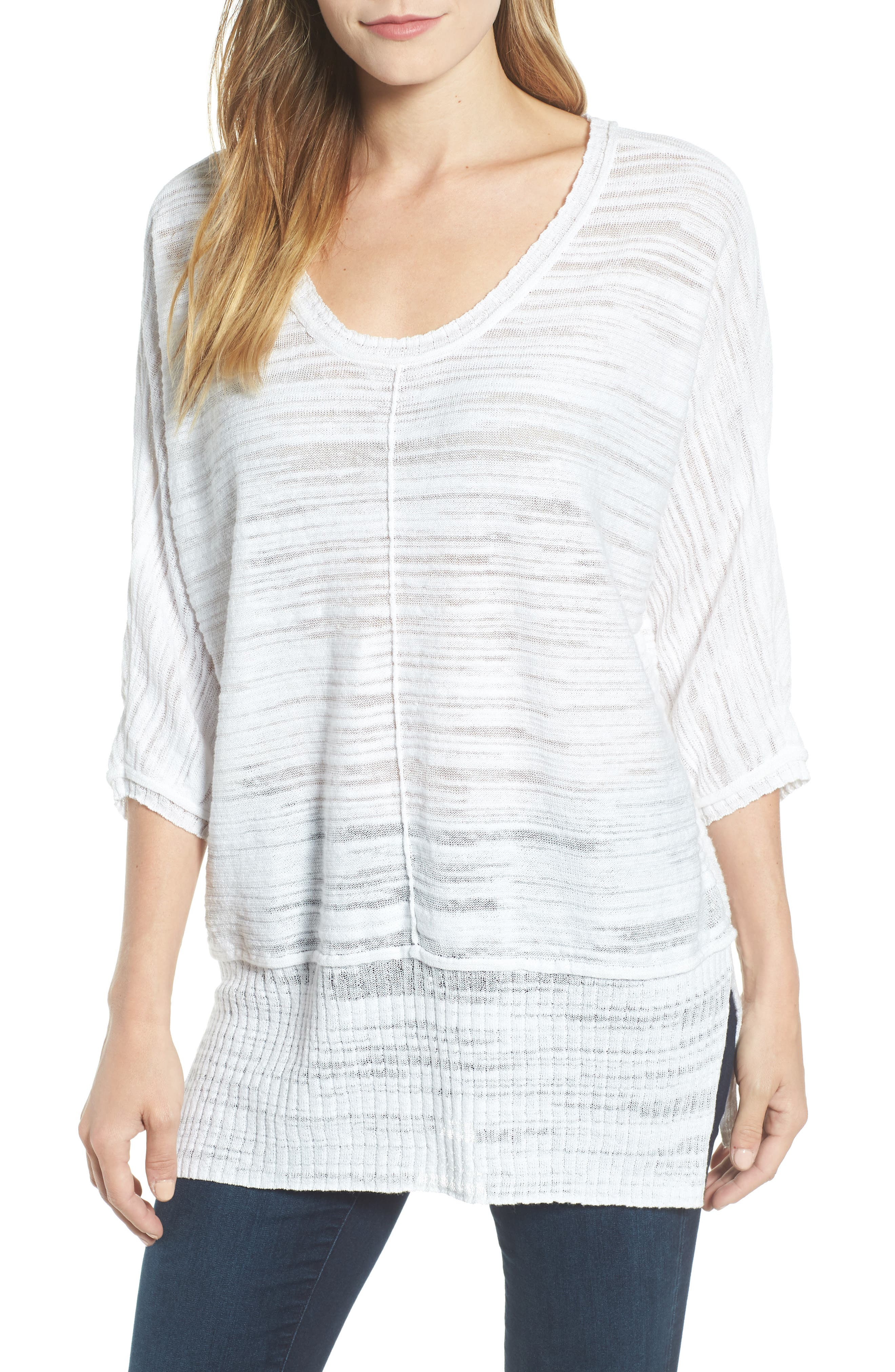 NIC+ZOE Open Breeze Linen Cotton Blend Sweater, Main, color, 123