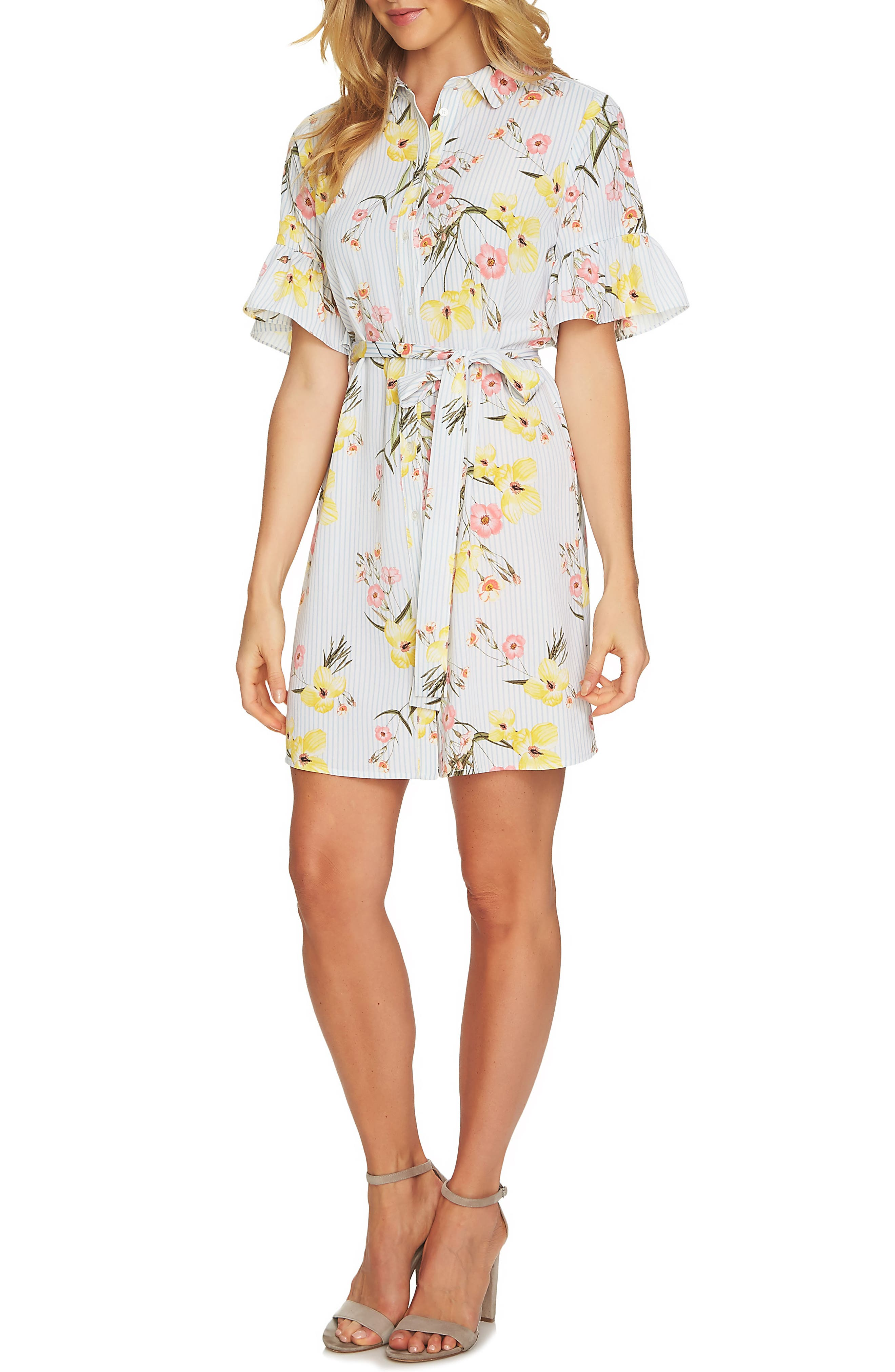Botanical Blooms Shirtdress,                             Main thumbnail 1, color,                             145