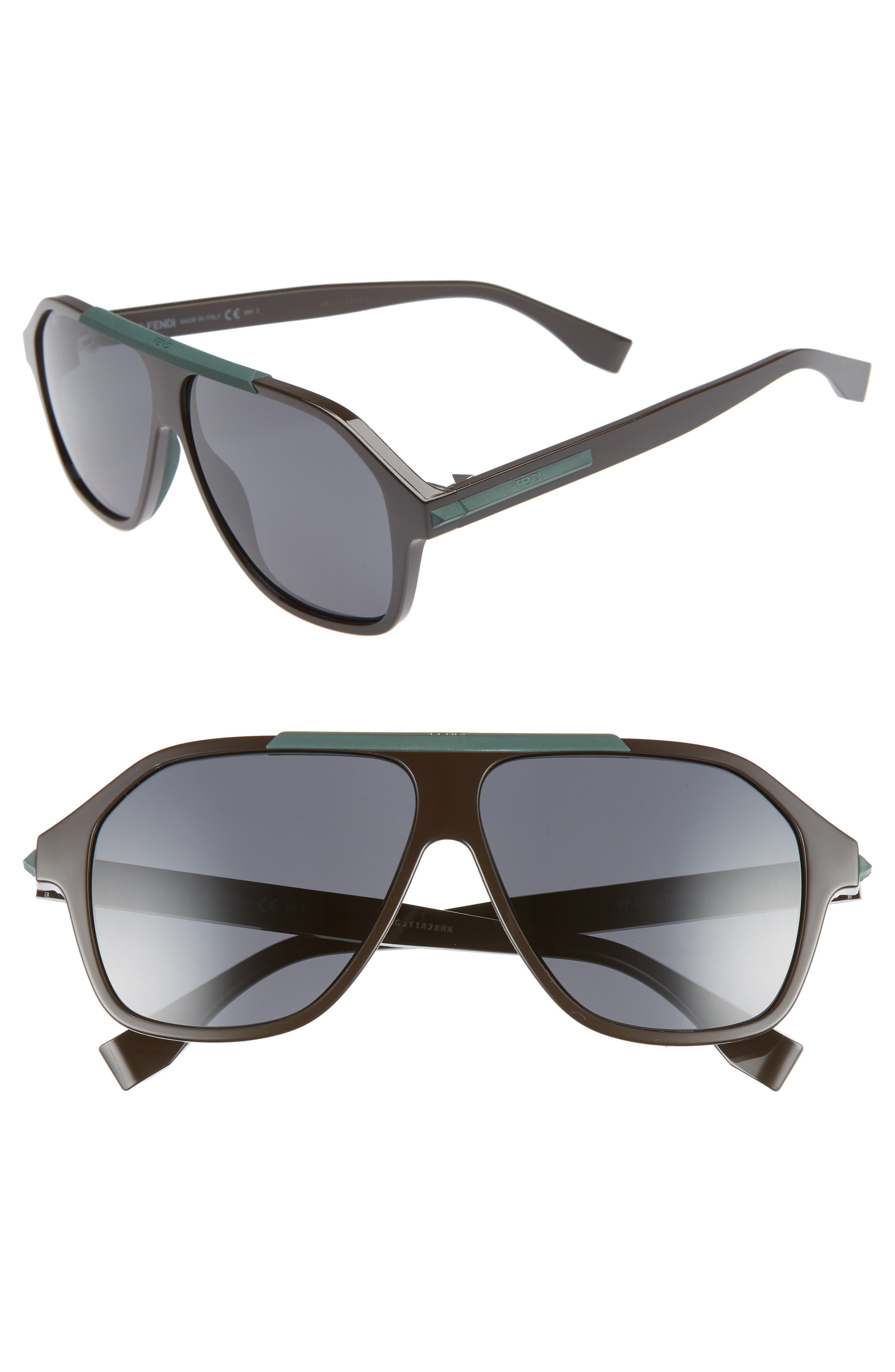 59mm Navigator Sunglasses,                             Main thumbnail 1, color,                             BROWN