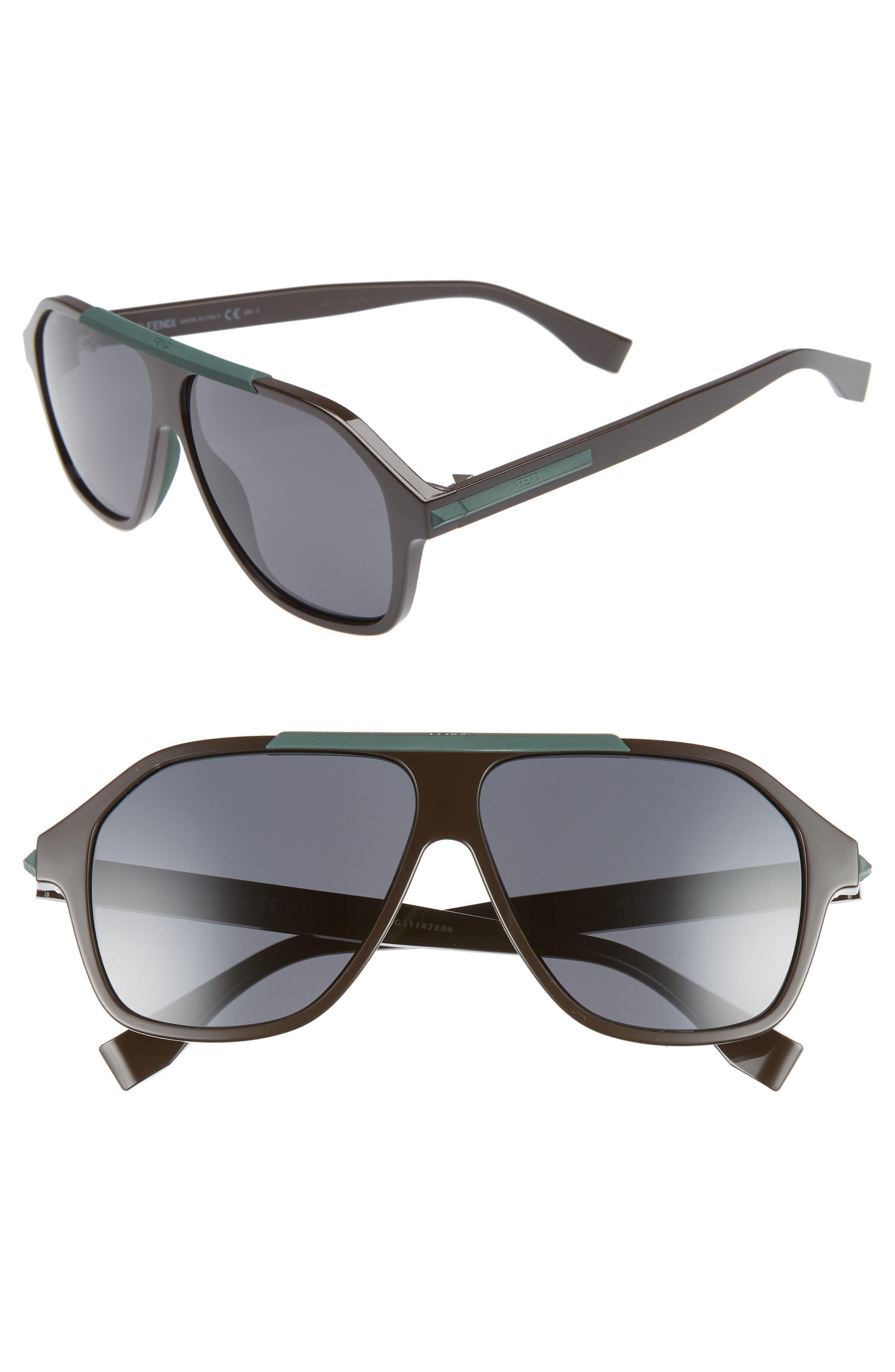59mm Navigator Sunglasses,                         Main,                         color, BROWN