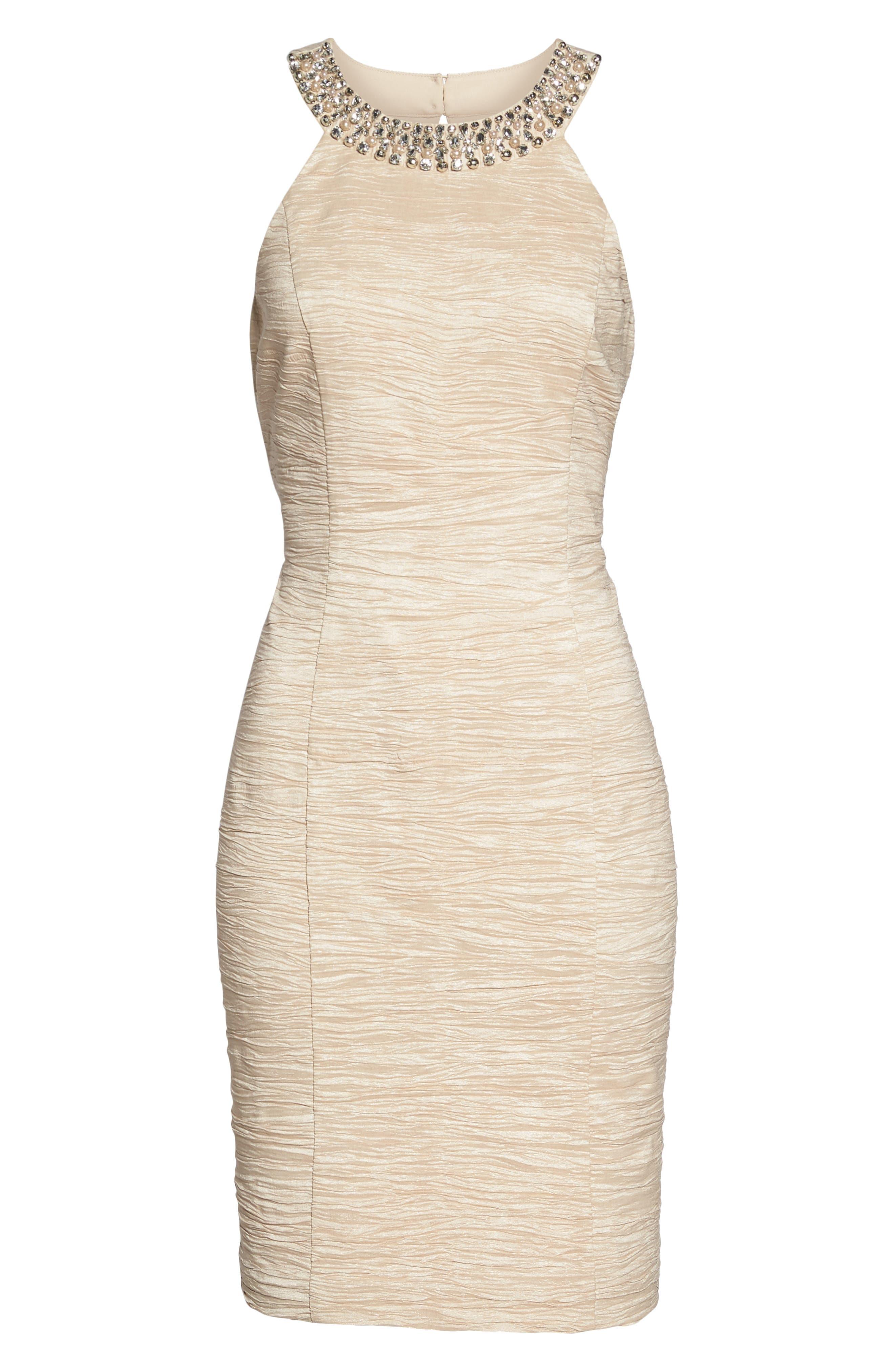 Embellished Crushed Taffeta Sheath Dress,                             Alternate thumbnail 6, color,