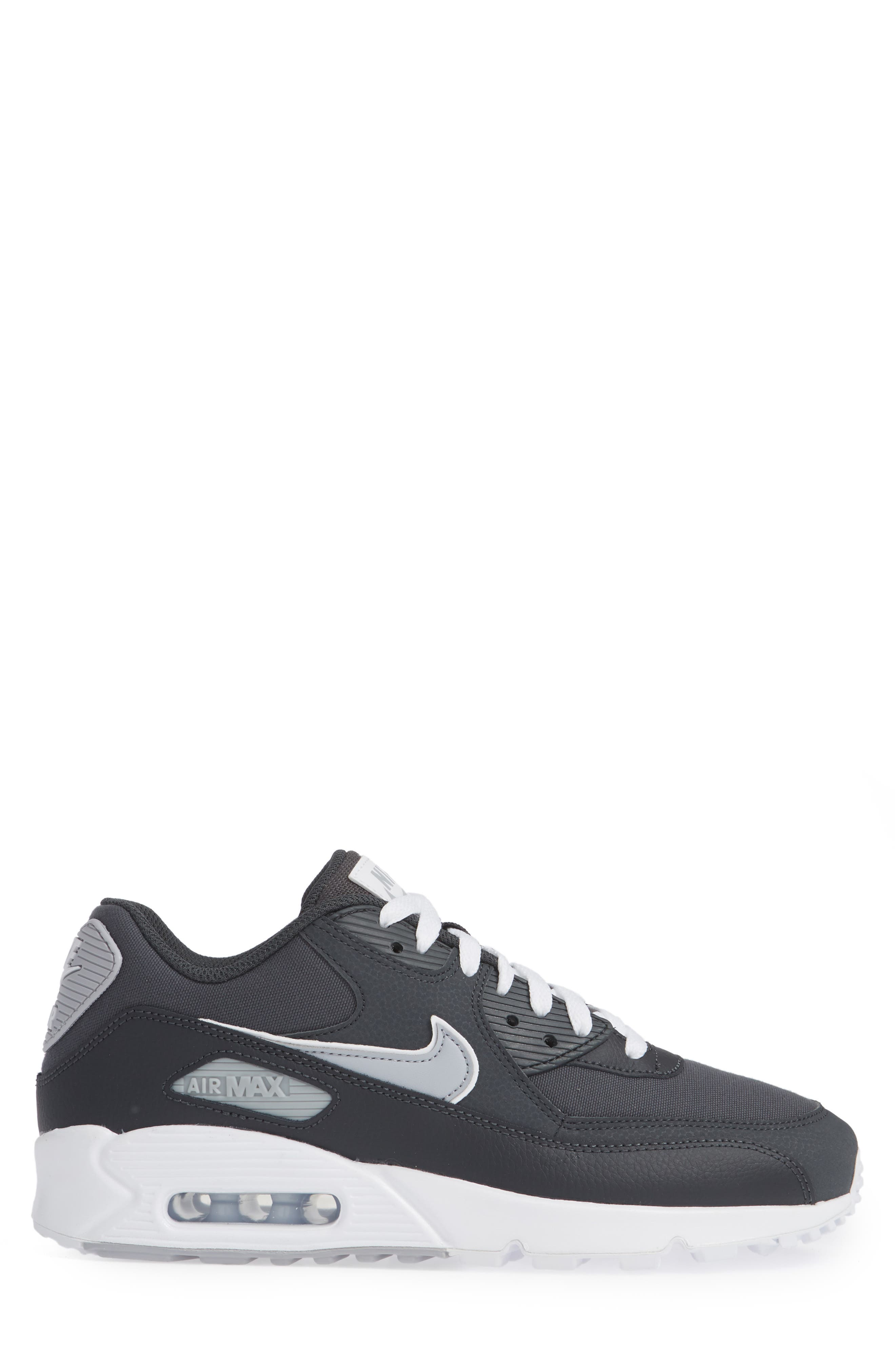 Air Max 90 Essential Sneaker,                             Alternate thumbnail 3, color,                             ANTHRACITE/ WOLF GREY/ WHITE