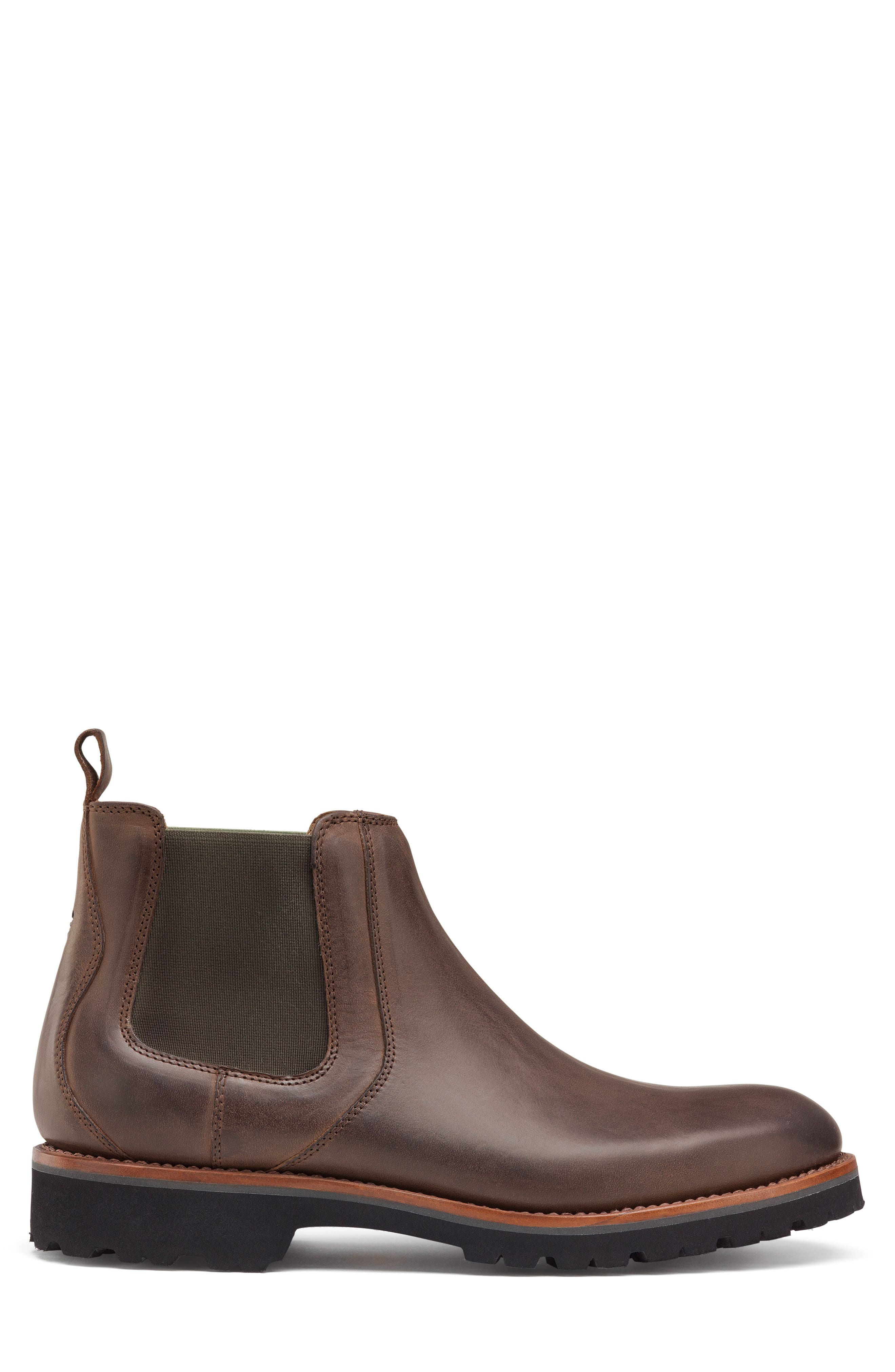 Hastings Lugged Chelsea Boot,                             Alternate thumbnail 3, color,                             BROWN LEATHER