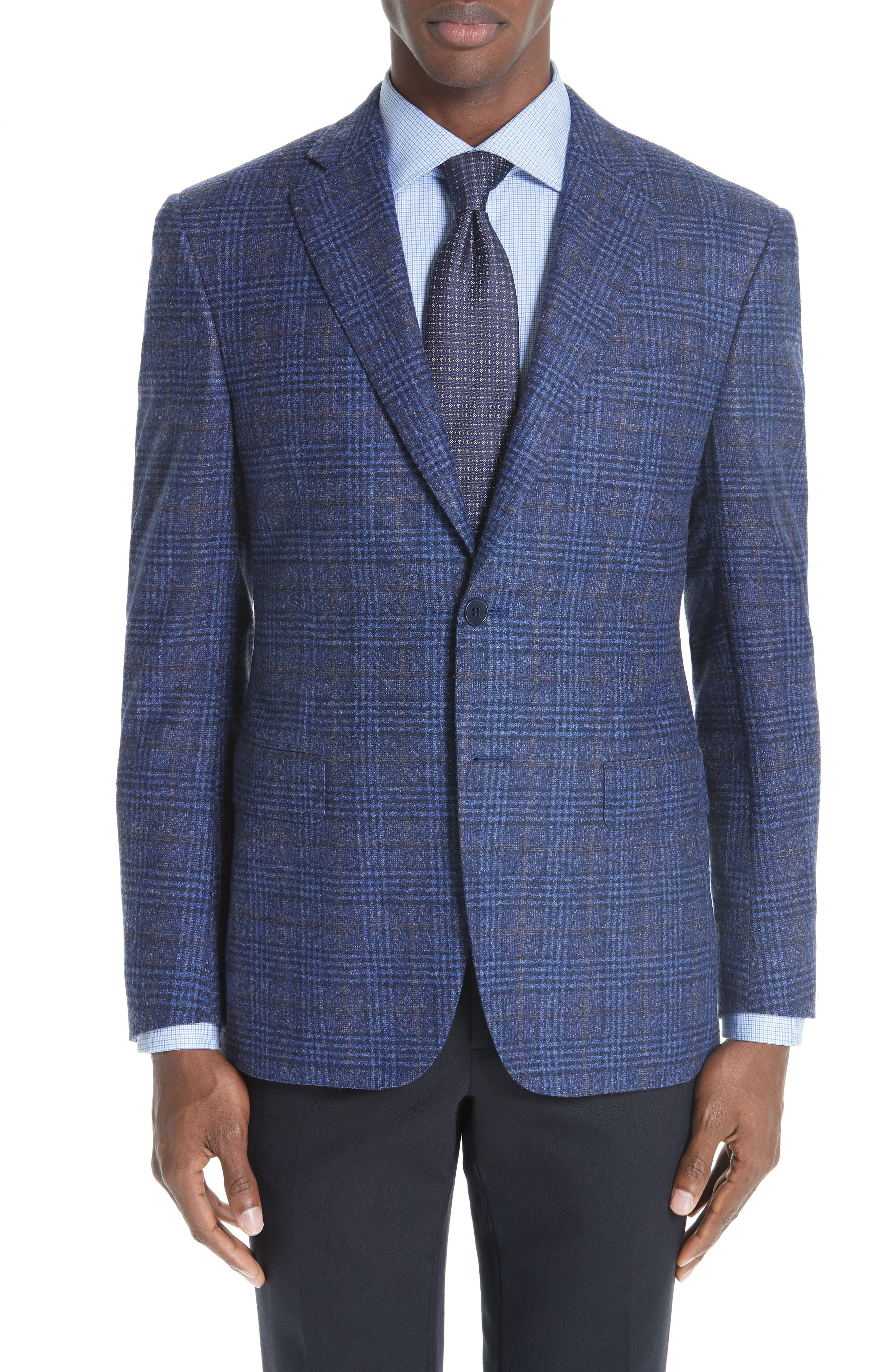 Classic Fit Plaid Wool Blend Sport Coat,                             Main thumbnail 1, color,                             DARK BLUE