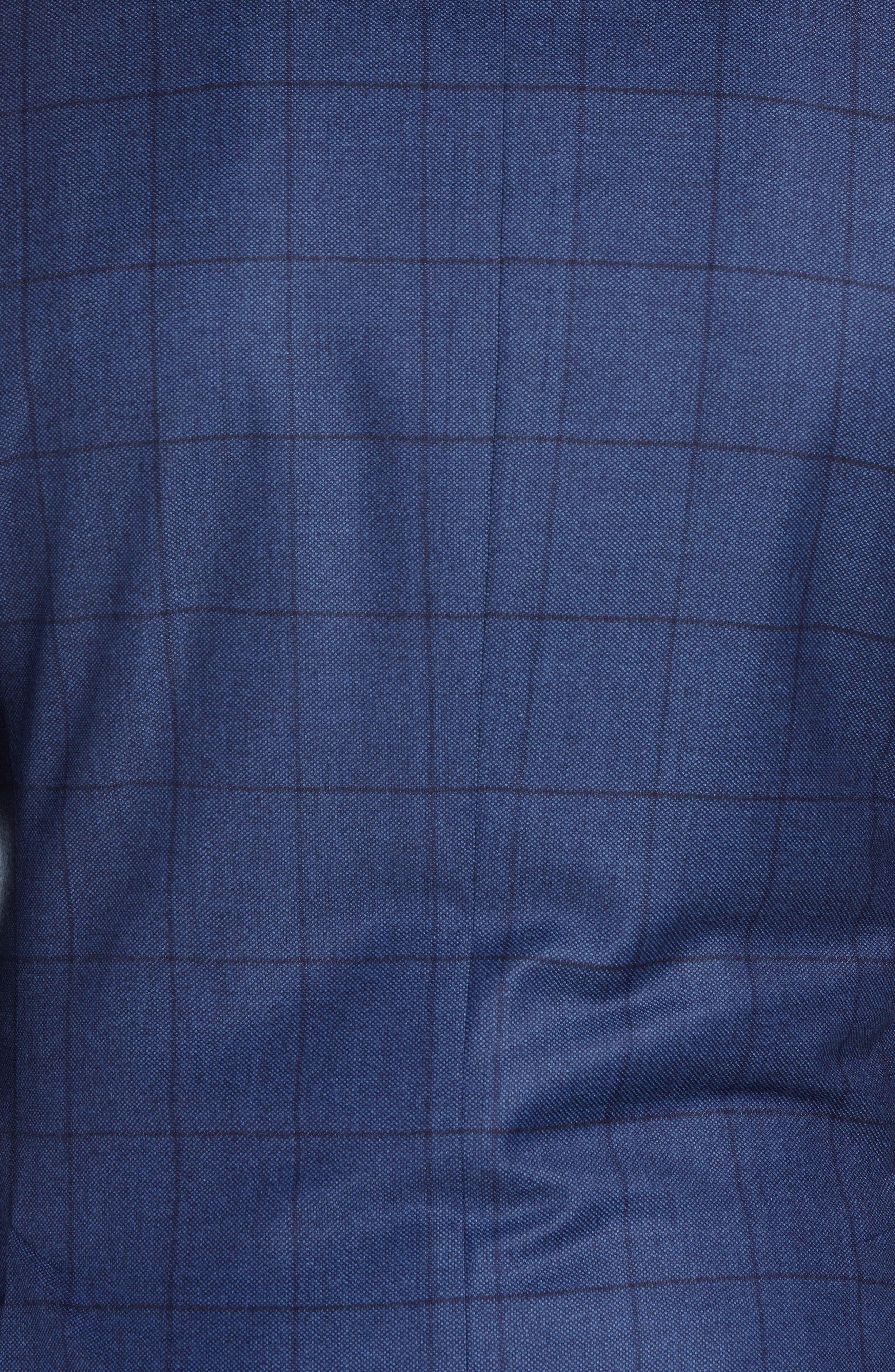 Classic Fit Windowpane Wool & Cashmere Suit,                             Alternate thumbnail 7, color,                             MEDIUM BLUE