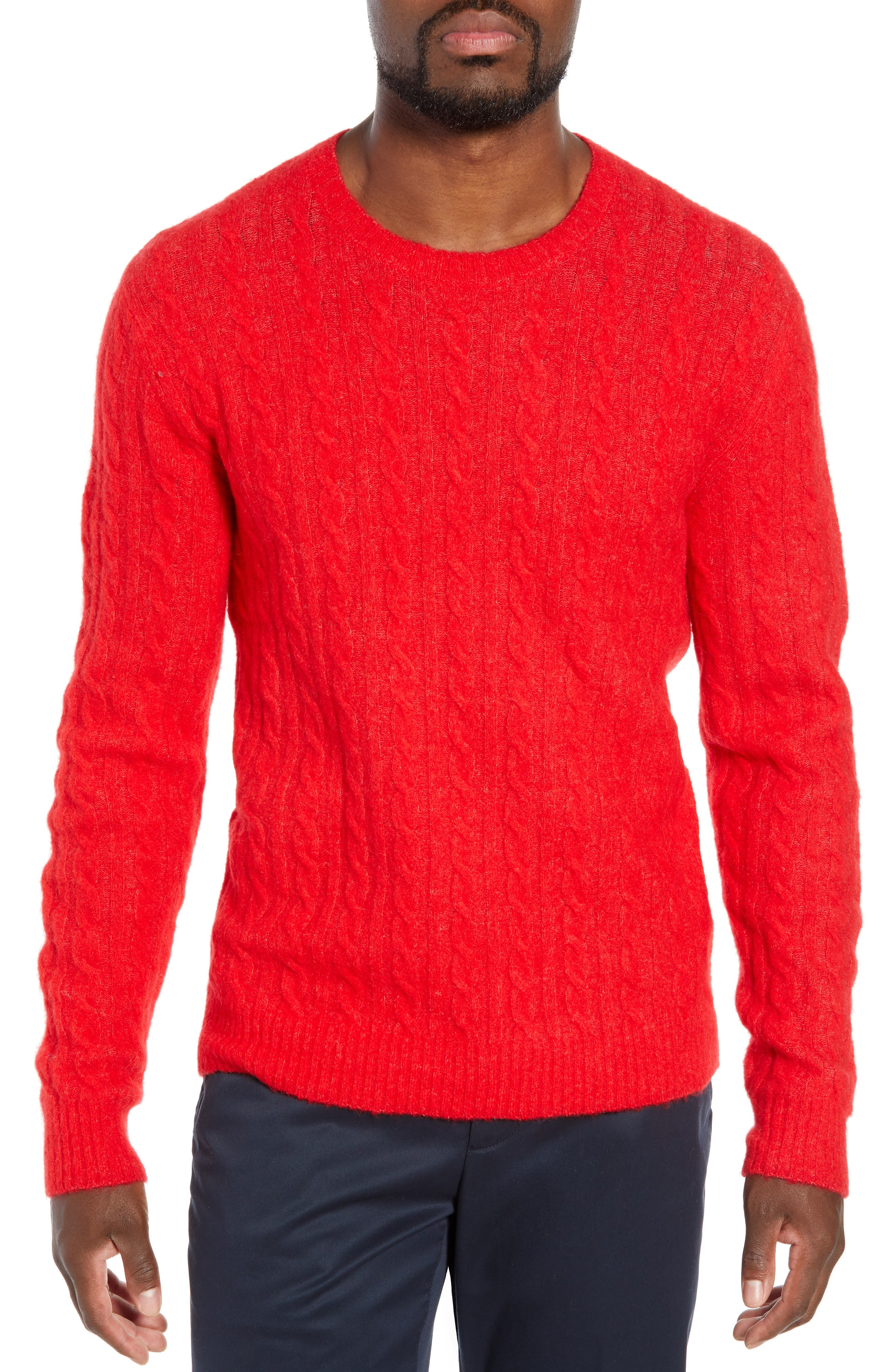 Bonobos Slim Fit Cable Wool Blend Sweater, Red