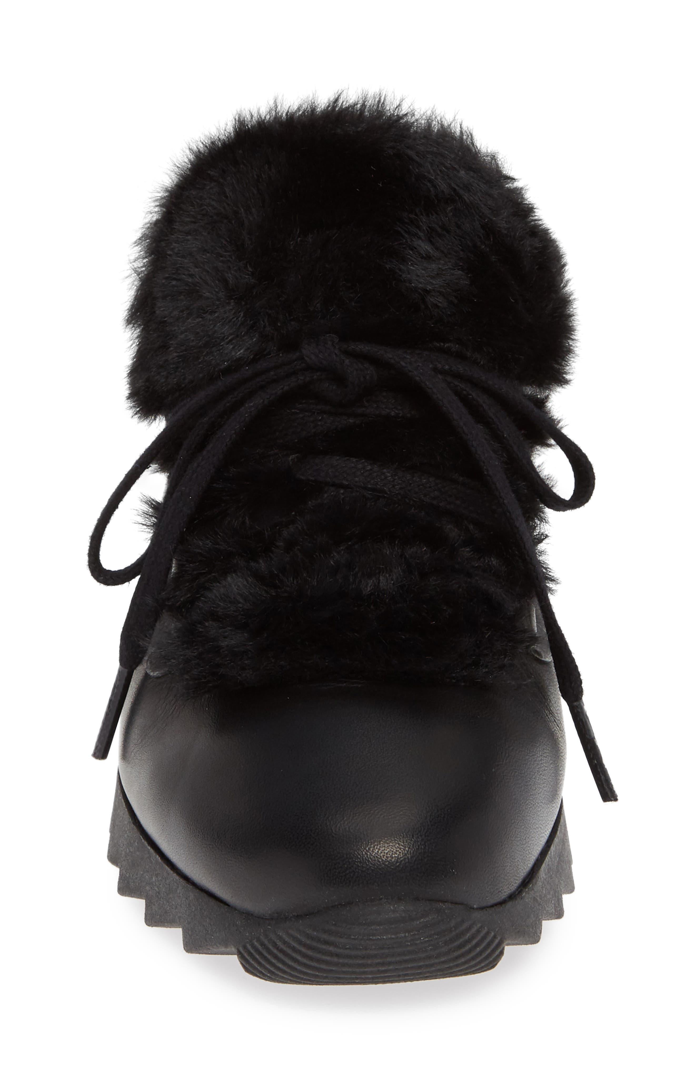 Sadara Wedge Sneaker,                             Alternate thumbnail 4, color,                             SOHO BLACK FAUX FUR