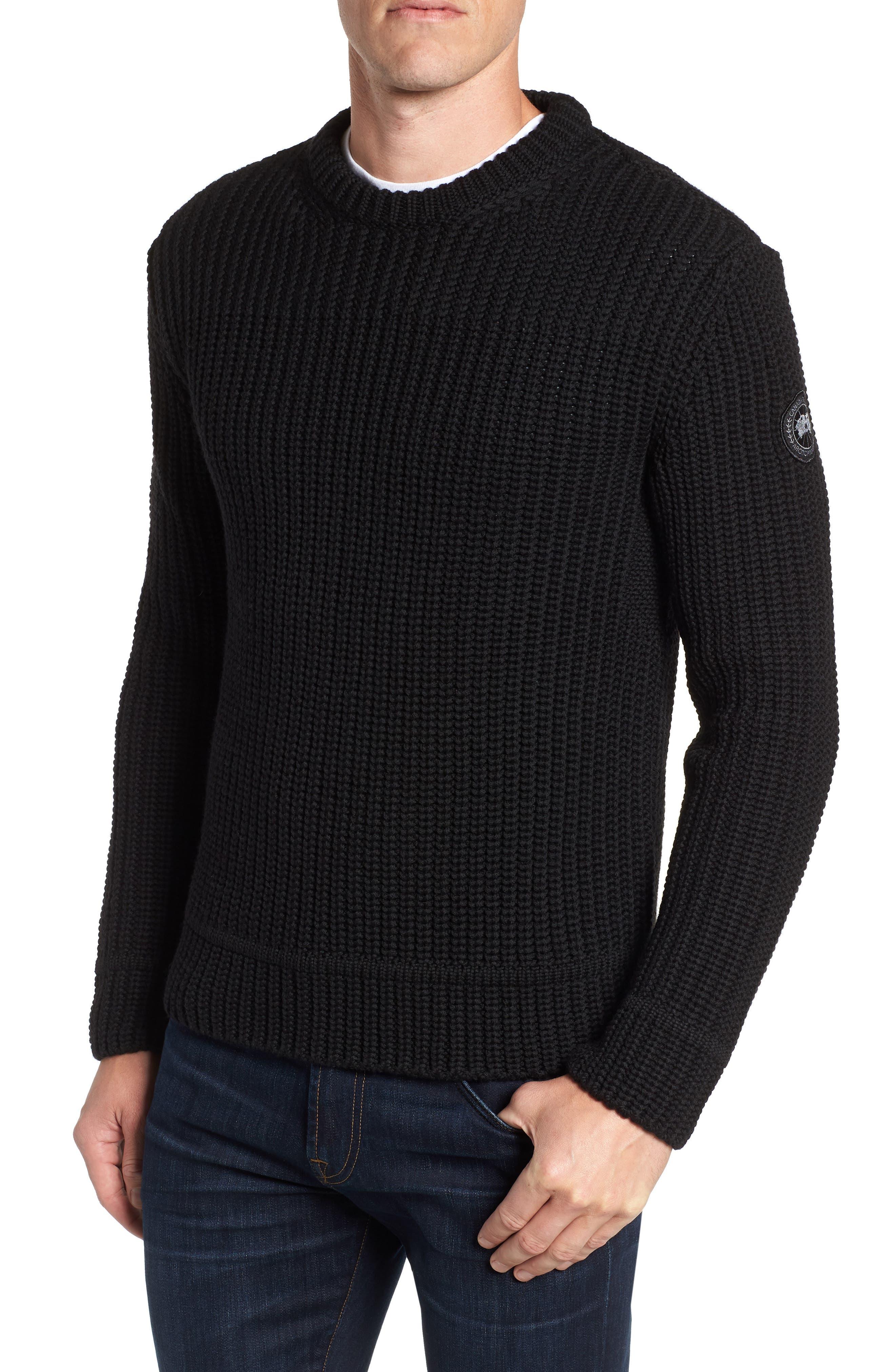 Galloway Regular Fit Merino Wool Sweater,                         Main,                         color, BLACK