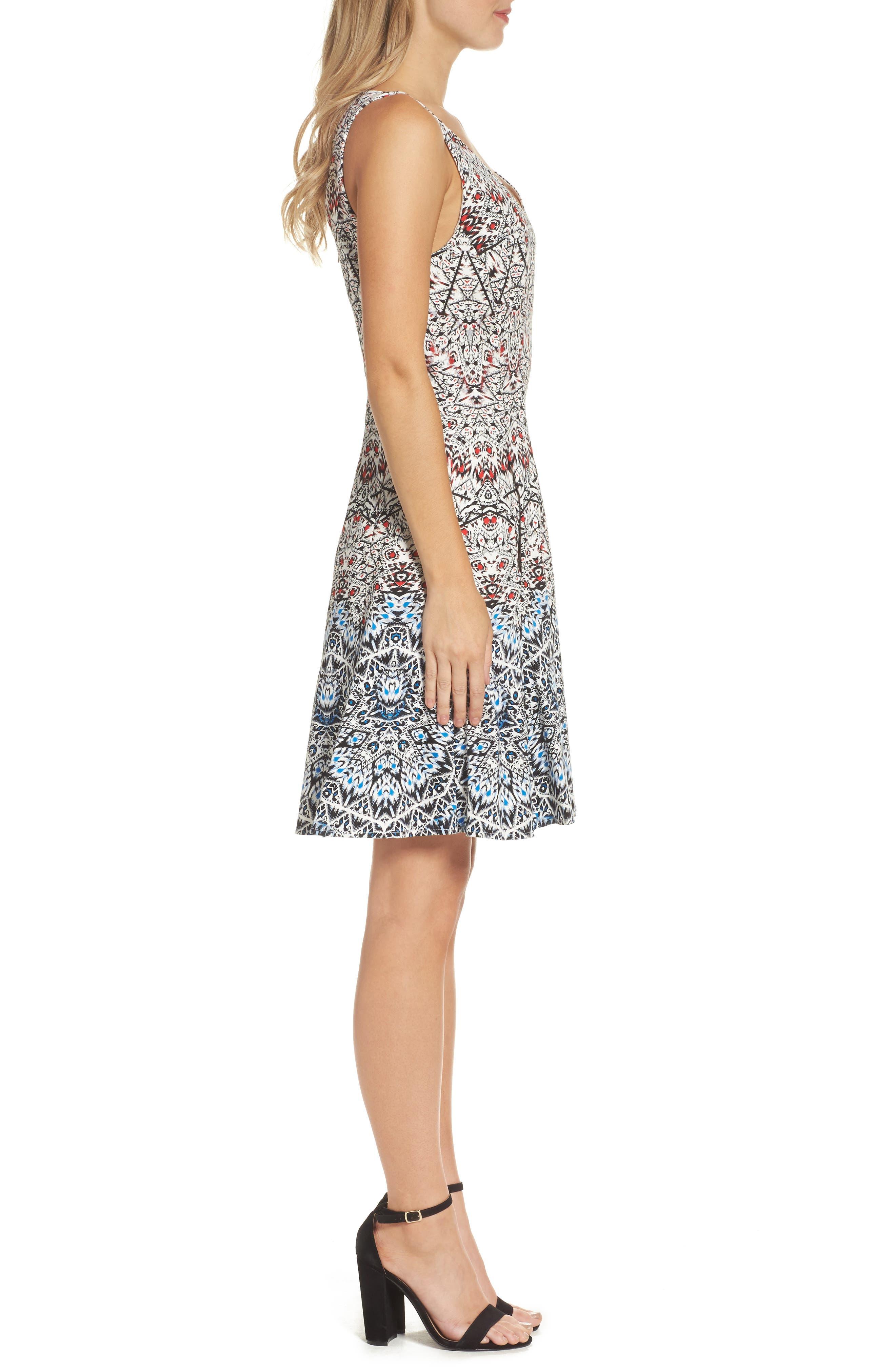 Fit & Flare Dress,                             Alternate thumbnail 3, color,                             400