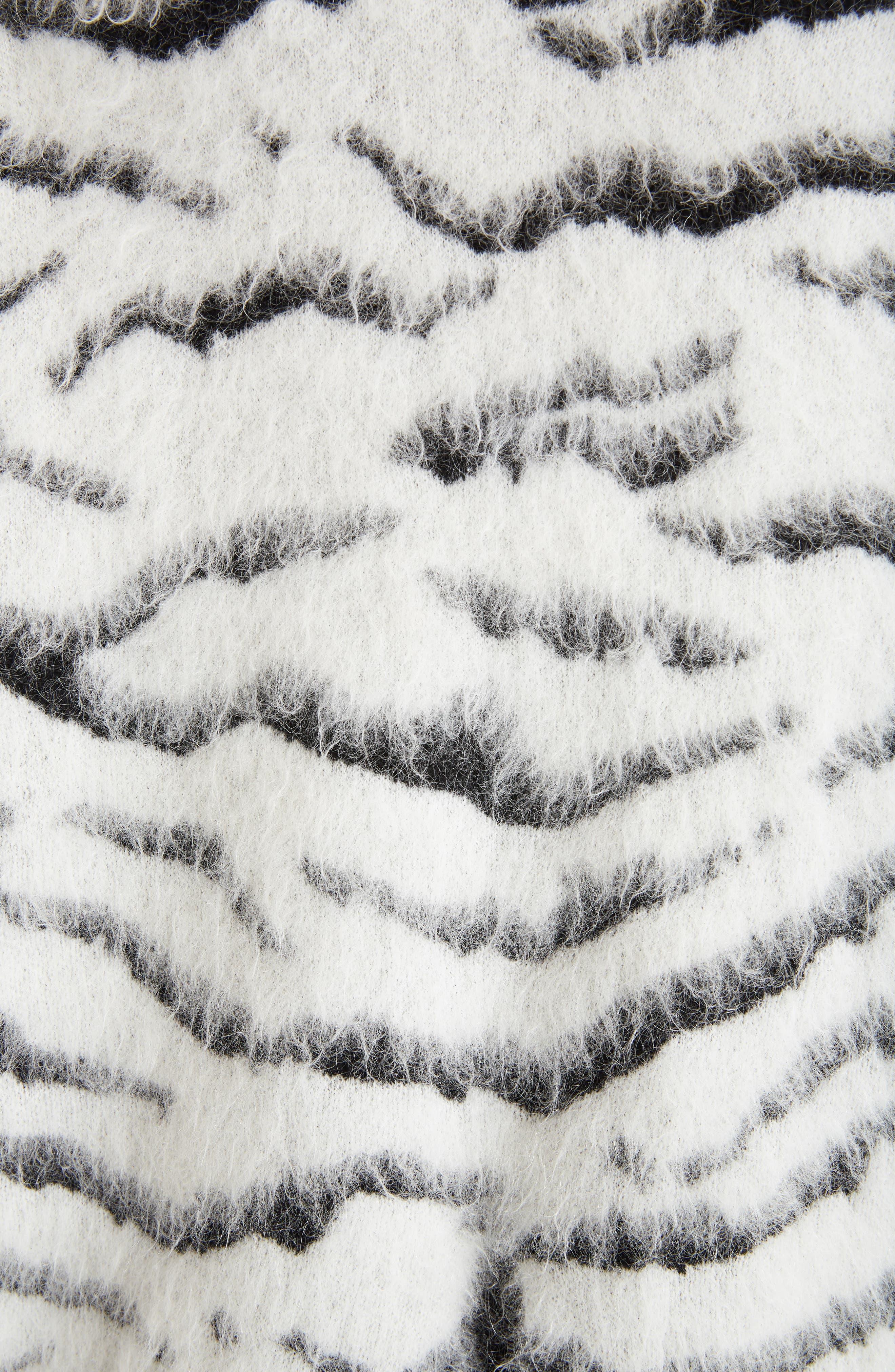 Zebra Stripe Mohair Blend Turtleneck Sweater,                             Alternate thumbnail 5, color,                             116