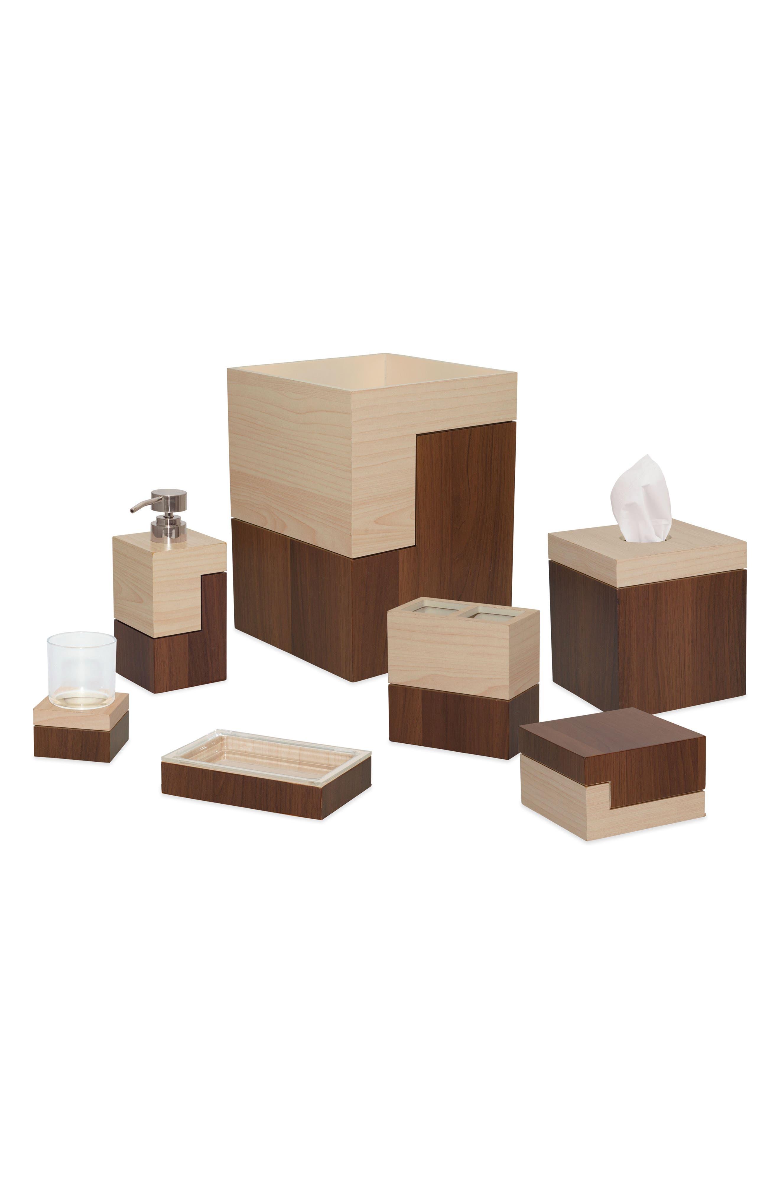 Wood Block Tissue Box Cover,                             Alternate thumbnail 2, color,