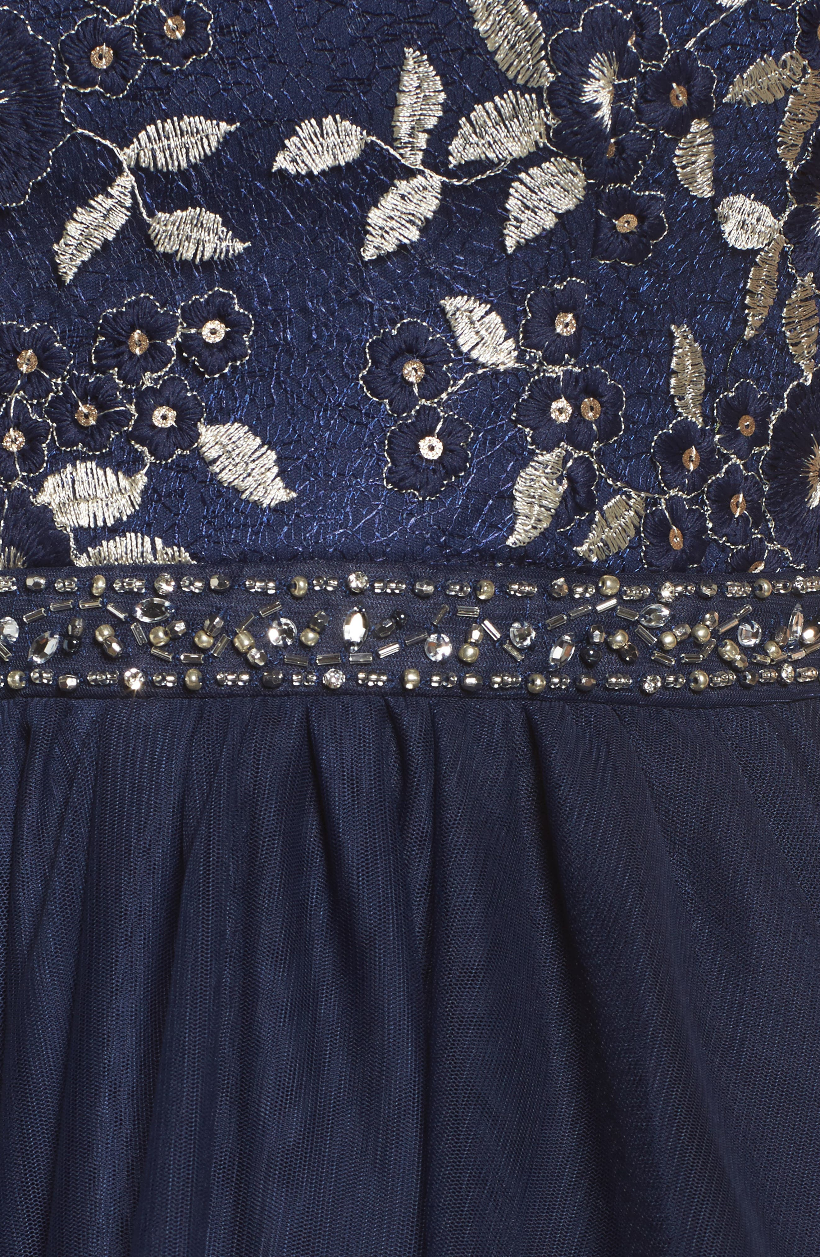Strapless Lace & Tulle Gown,                             Alternate thumbnail 5, color,                             NAVY/ CHAMPAGNE