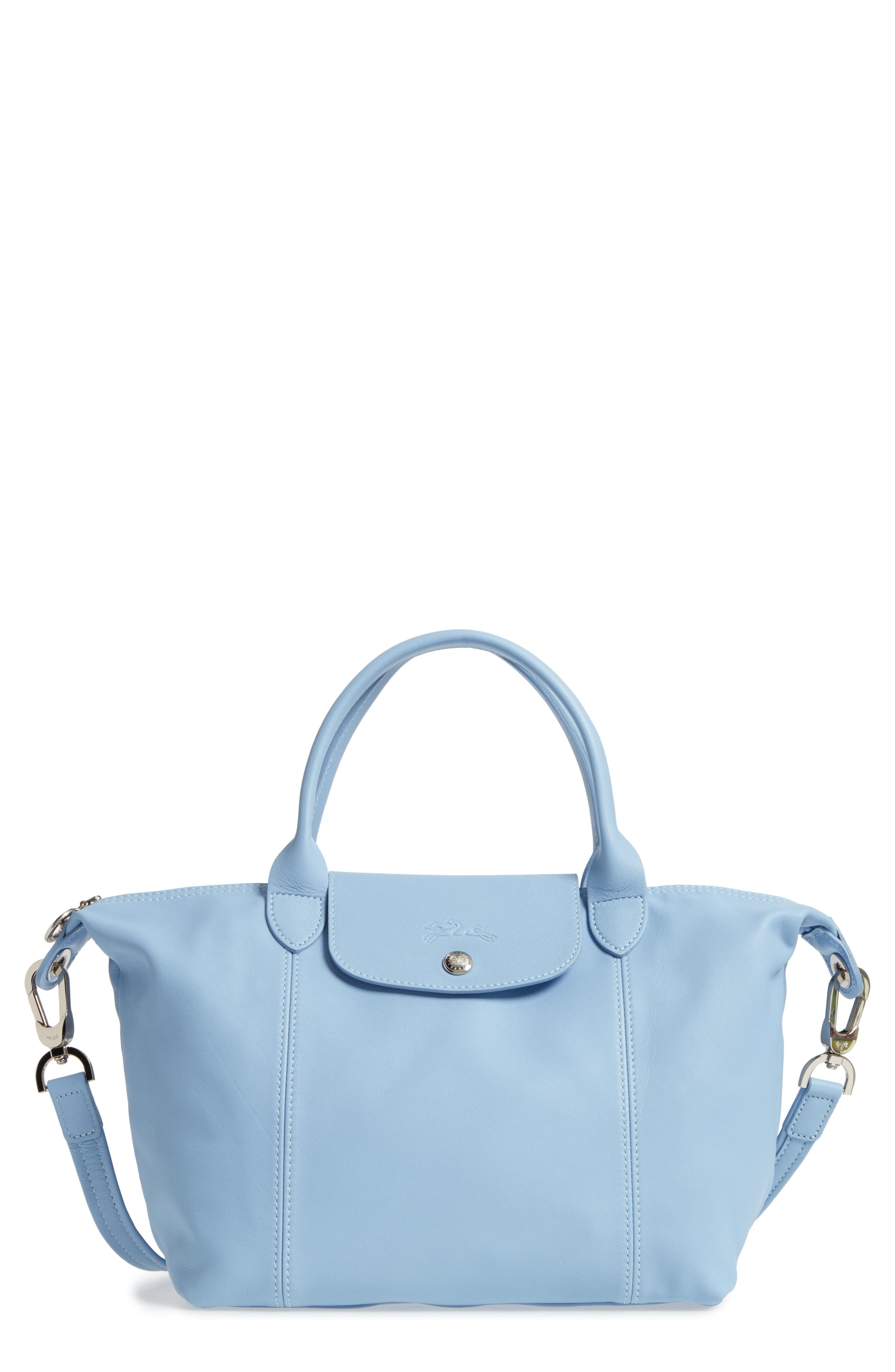 Small 'Le Pliage Cuir' Leather Top Handle Tote,                             Main thumbnail 4, color,