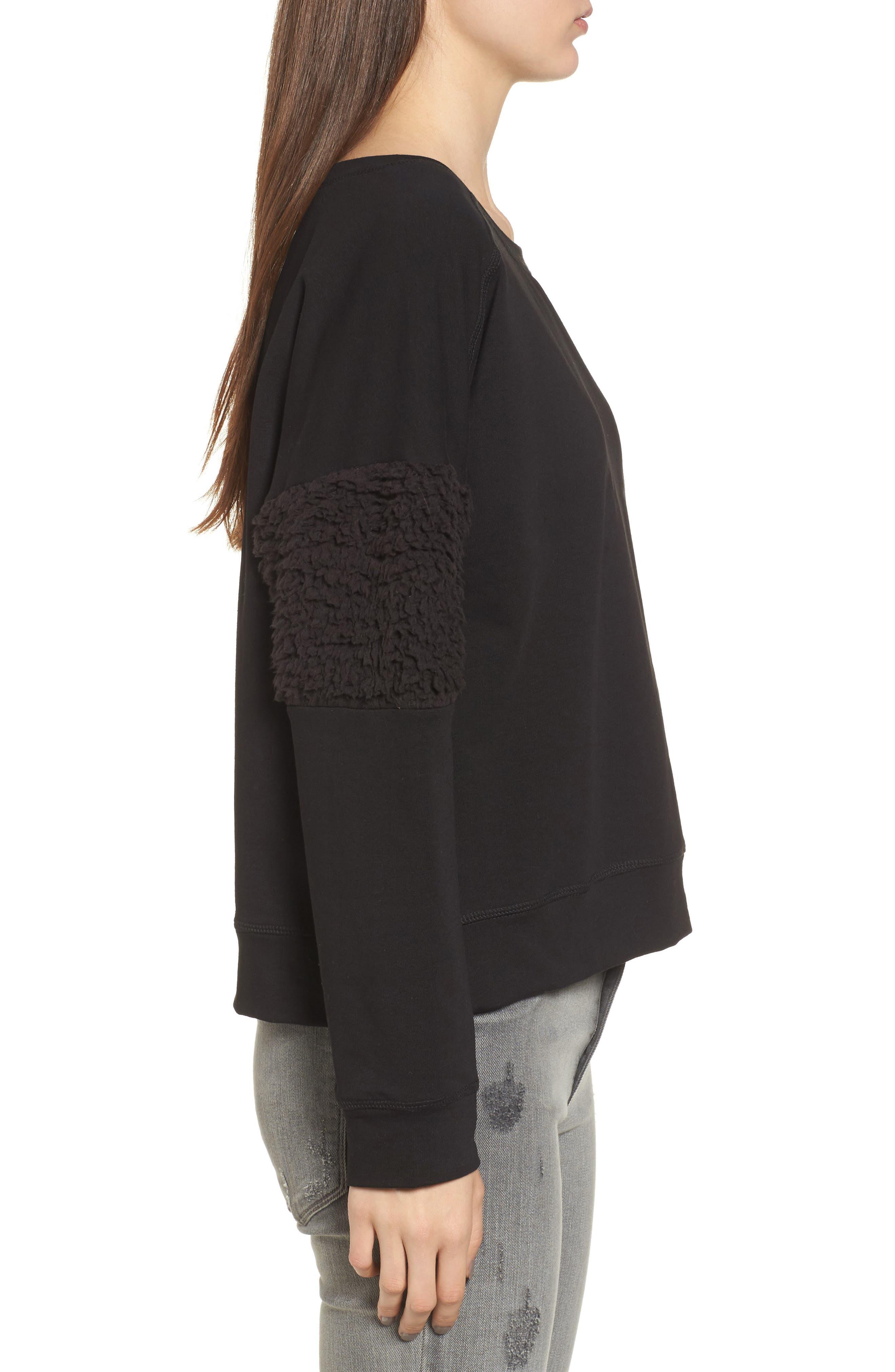 Fleece Panel Sweatshirt,                             Alternate thumbnail 3, color,                             001