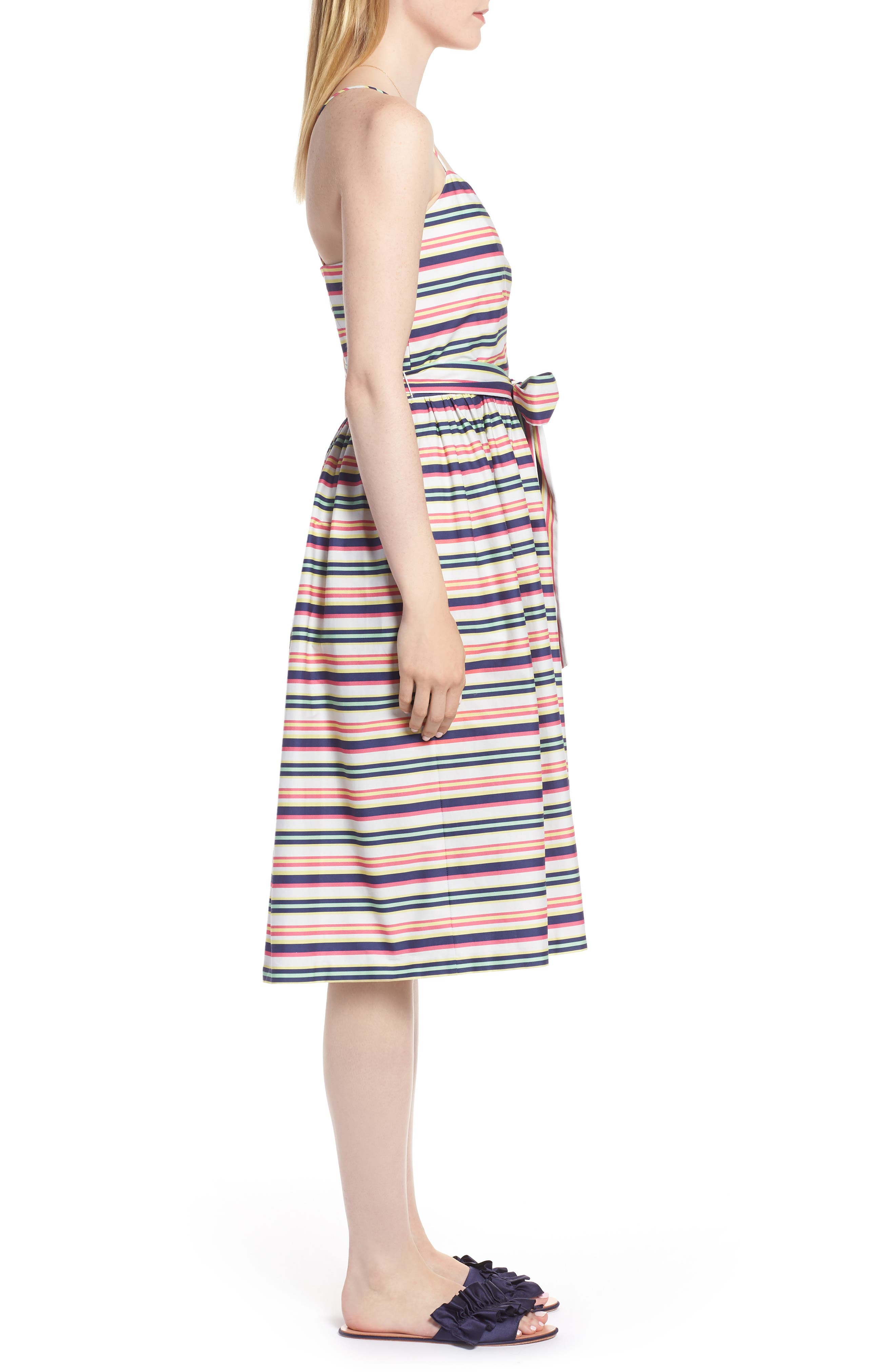 Stripe Strappy Cotton Dress,                             Alternate thumbnail 3, color,                             NAVY PINK COMBO STRIPE