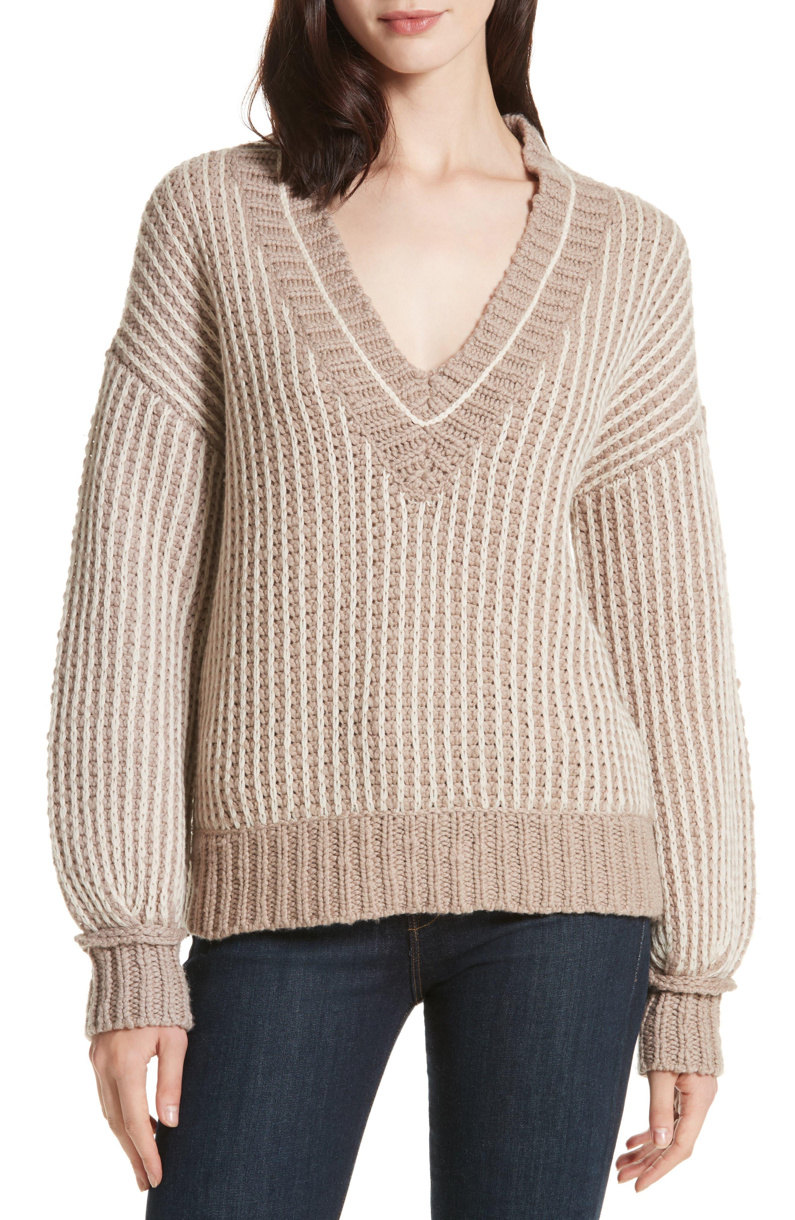 Jessen Stripe Wool & Cashmere Sweater,                             Main thumbnail 1, color,                             210