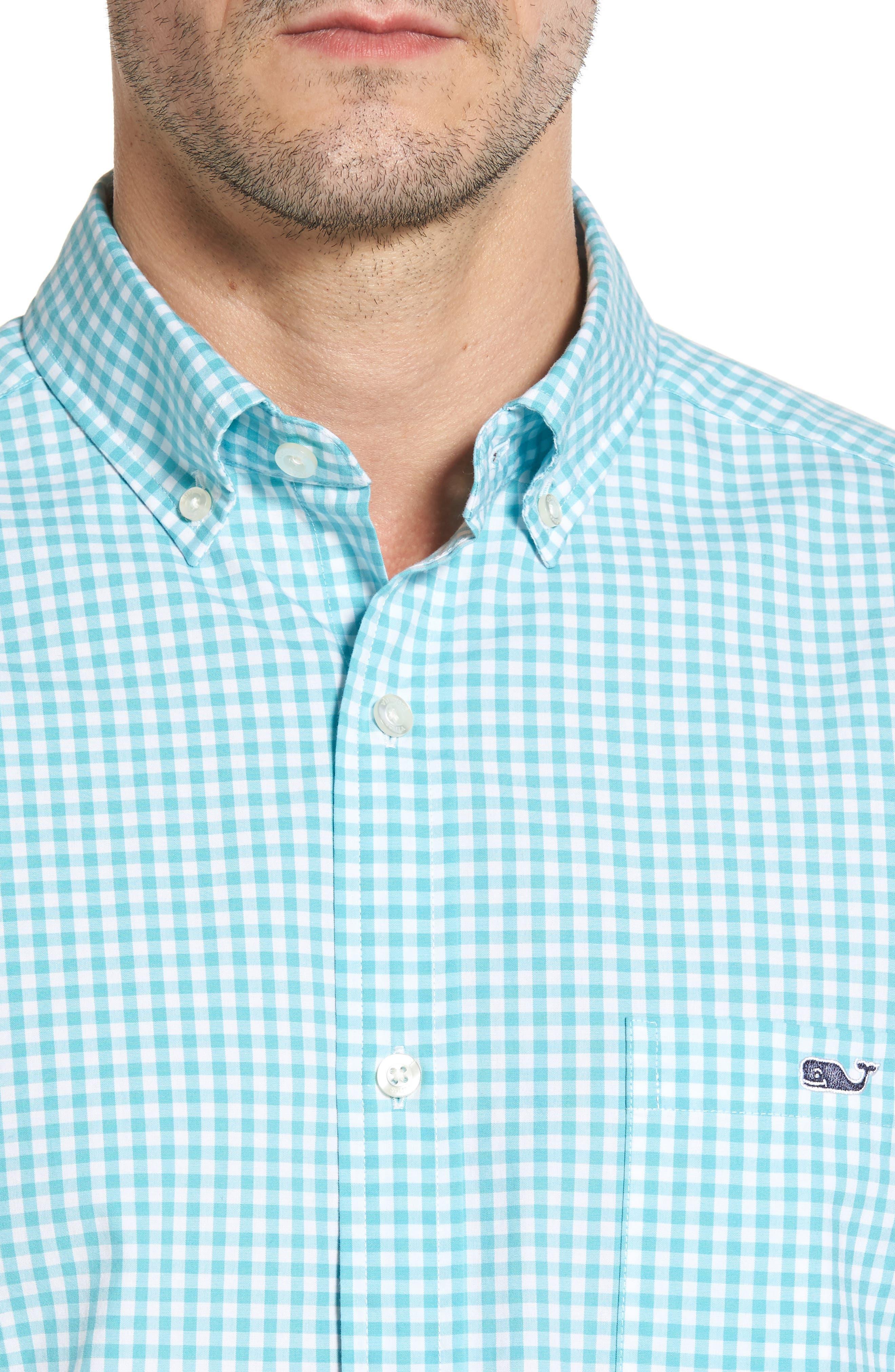 VINEYARD VINES,                             Seafloor Tucker Gingham Sport Shirt,                             Alternate thumbnail 4, color,                             302