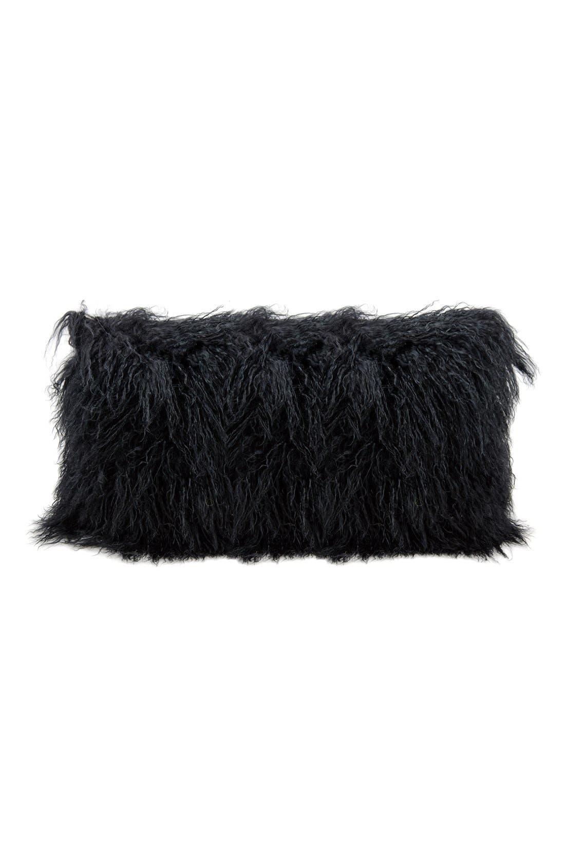 Genuine Tibetan Shearling Pillow,                             Main thumbnail 1, color,                             001