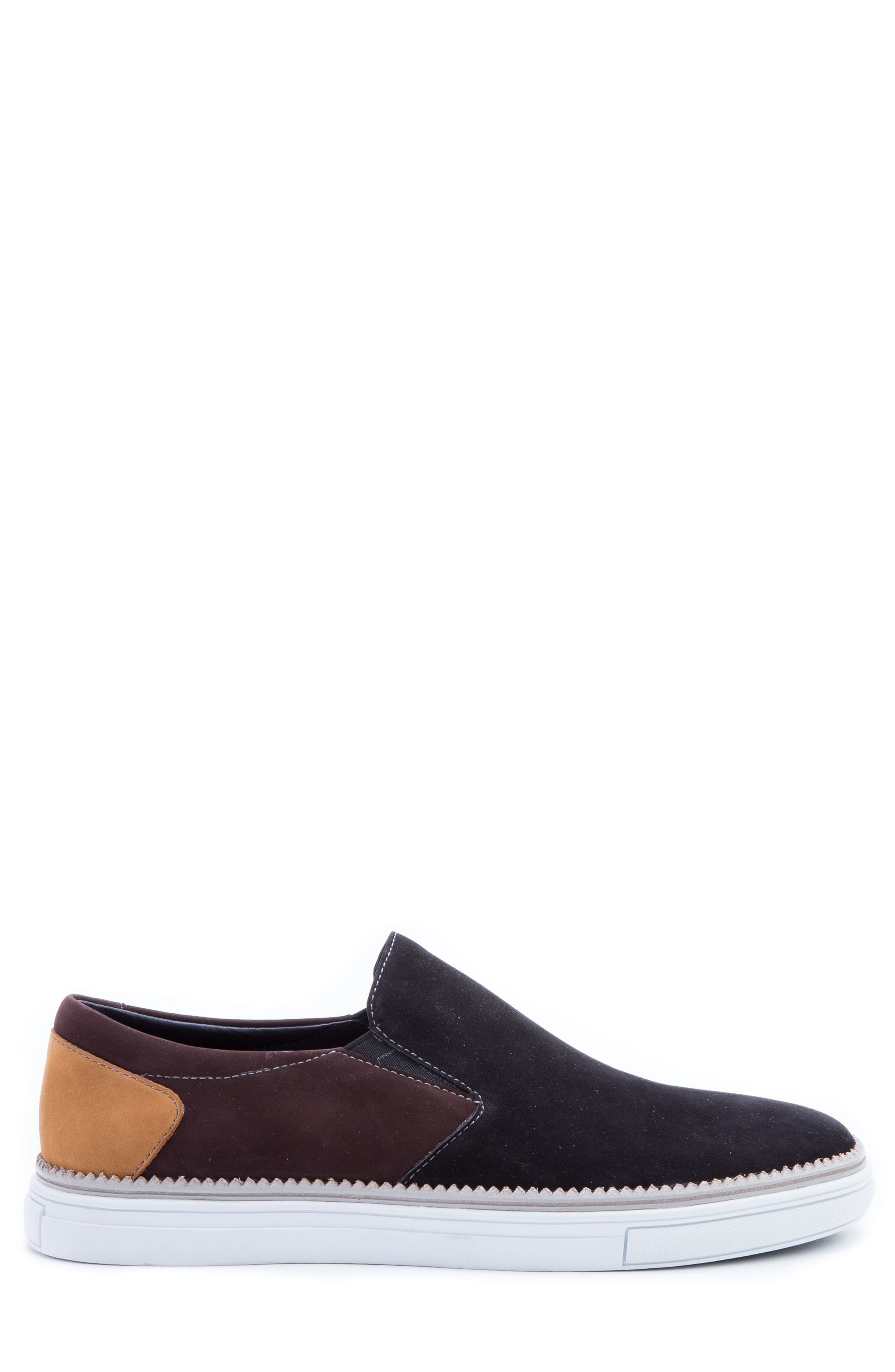 Rivera Colorblocked Slip-On Sneaker,                             Alternate thumbnail 3, color,                             BLACK SUEDE