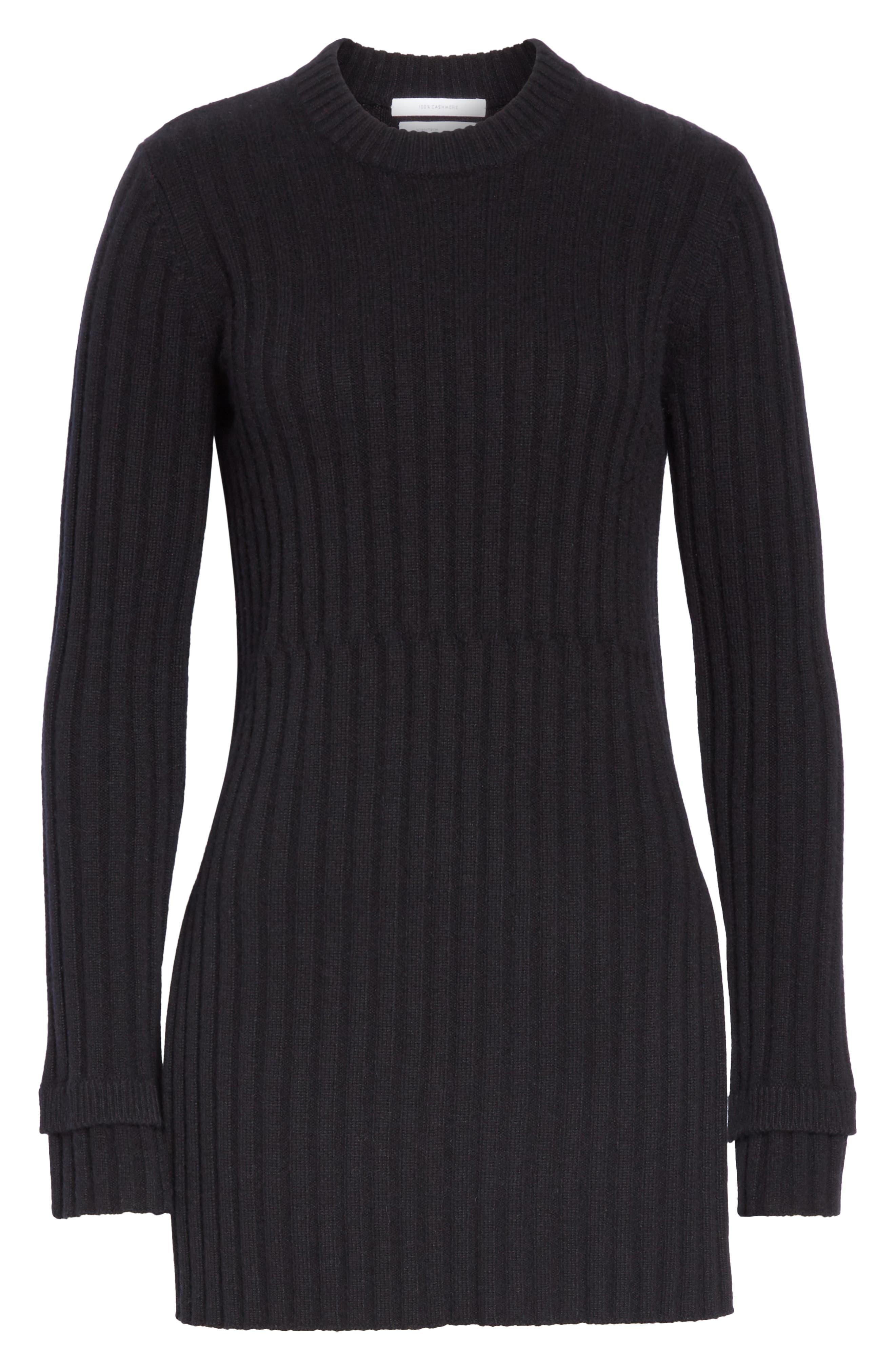 Rib Knit Cashmere Tunic,                             Alternate thumbnail 6, color,                             BLACK